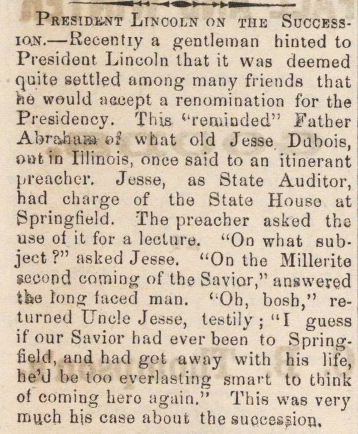 President Lincoln On The Succession image