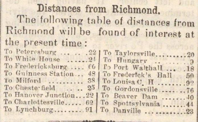 Distances From Richmond image