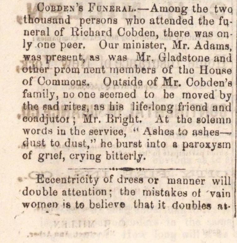 Cobden's Funeral image