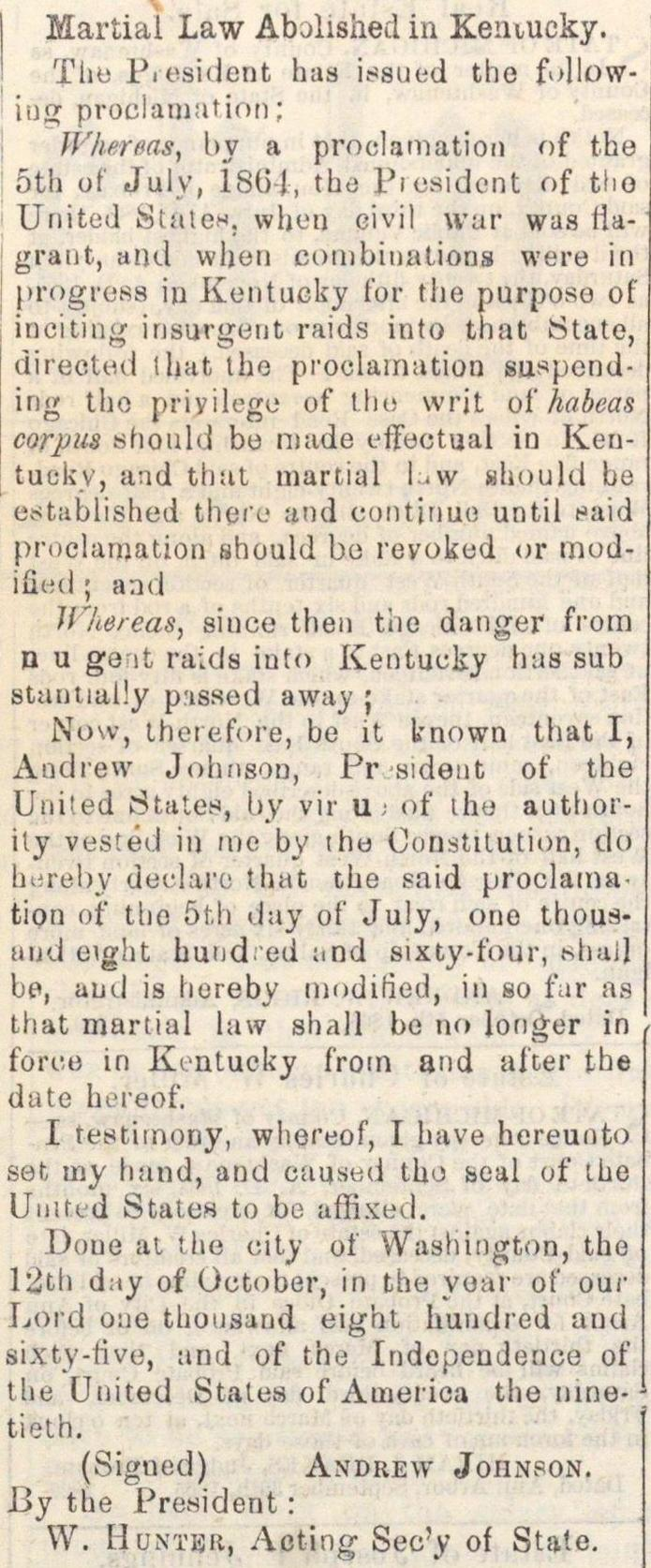 Martial Law Abolished In Kentucky image