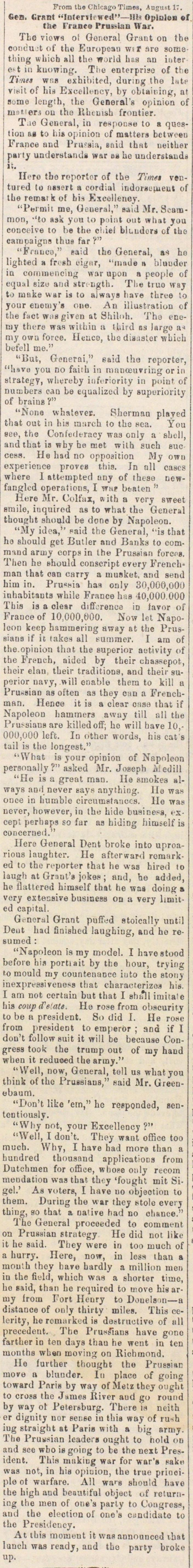"Gen. Grant ""interviewed""--his Opinion Of The France Prussian War image"