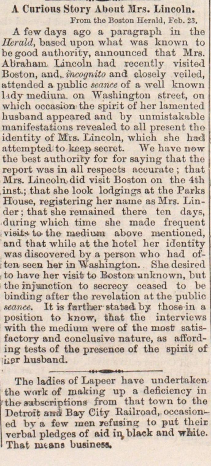 A Curious Story About Mrs. Lincoln image