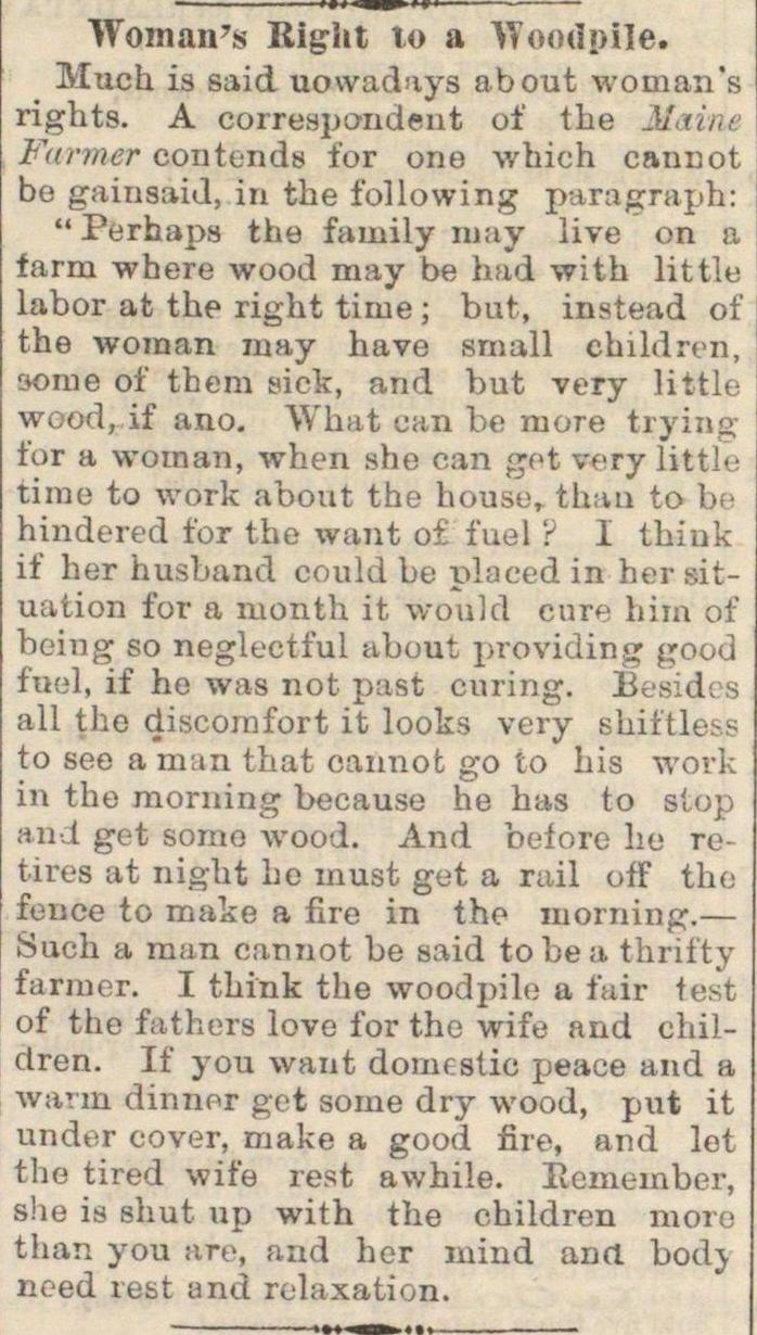 Woman's Right To A Woodpile image