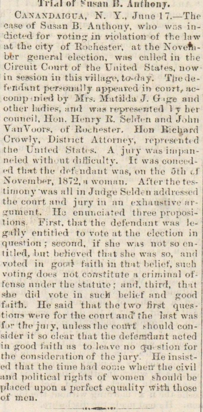 Trial Of Susan B. Anthony image