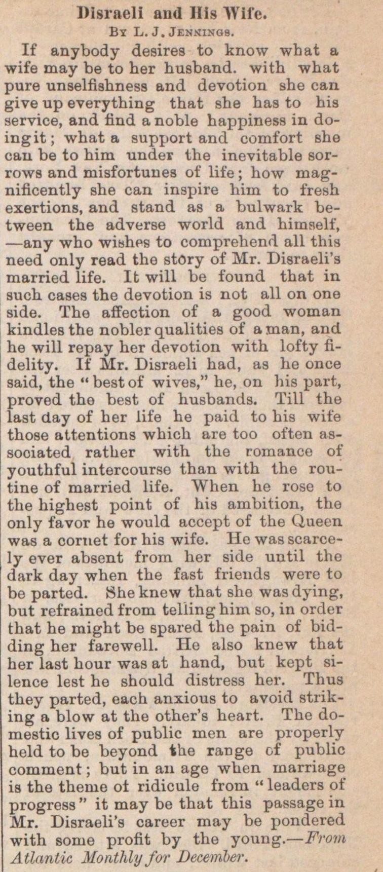 Disraeli And His Wife image