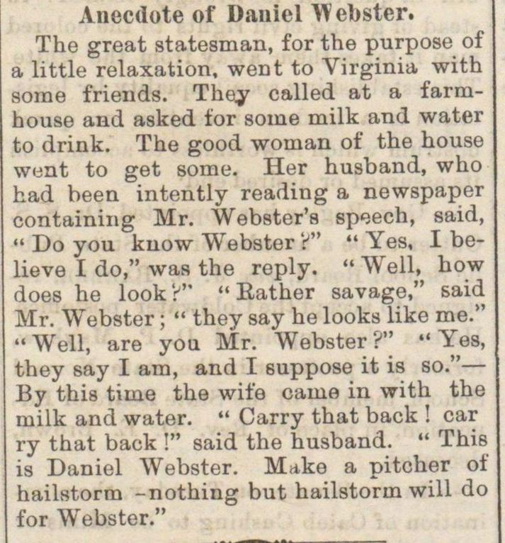 Anecdote Of Daniel Webster image