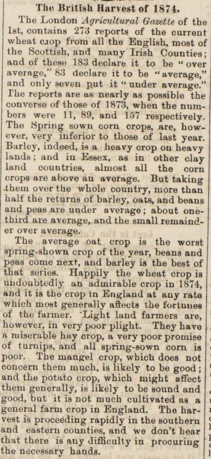 The British Harvest Of 1874 image