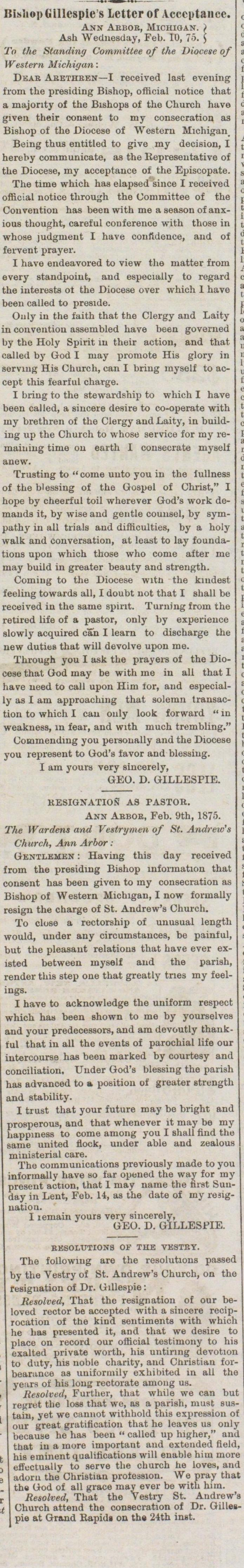 Bishop George D. Gillespie's Letter Of Acceptance To Post of Bishop of Diocese of Western Michigan  image