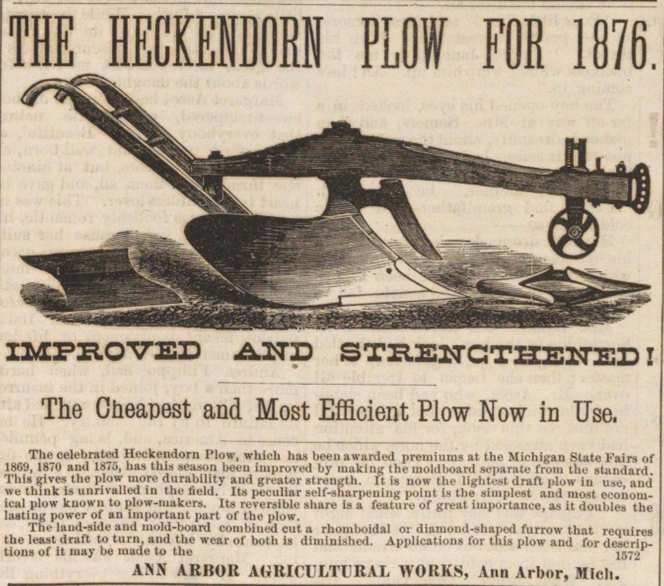 The Heckendorn Plow For 1876 image