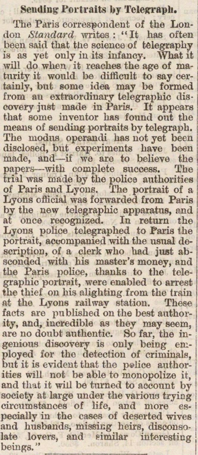 Sending Portraits By Telegraph image