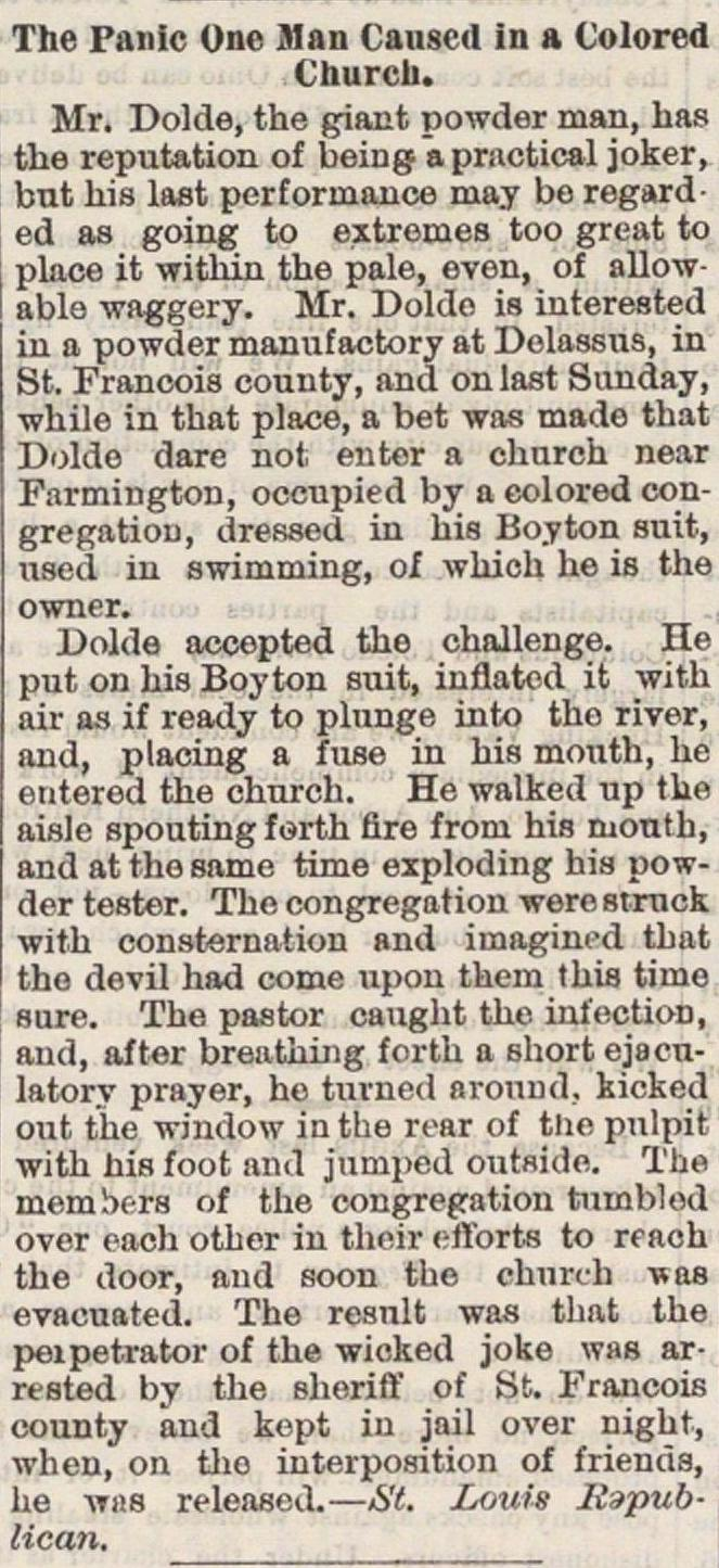 The Panic One Man Caused In A Colored Church image