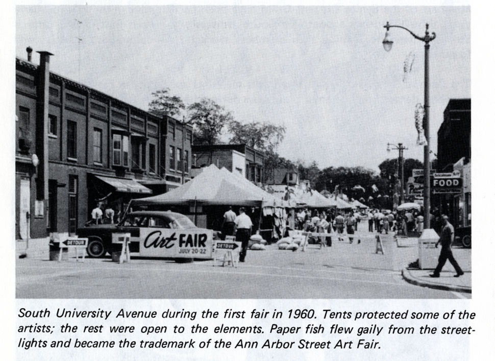 Postcard showing photograph of the First Street Art Fair in 1960 image
