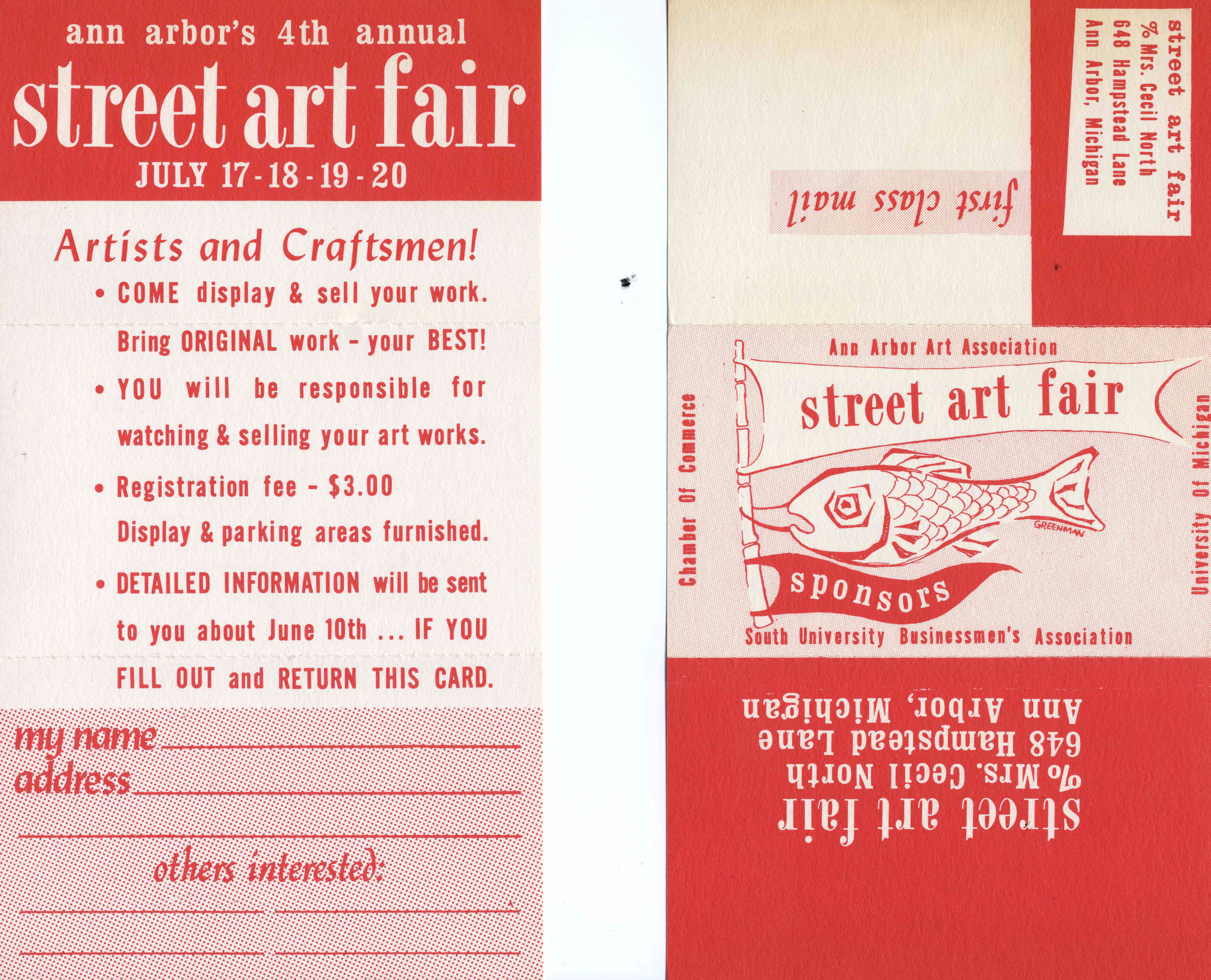 Artist Invitation Postcard, Street Art Fair, 1963 image