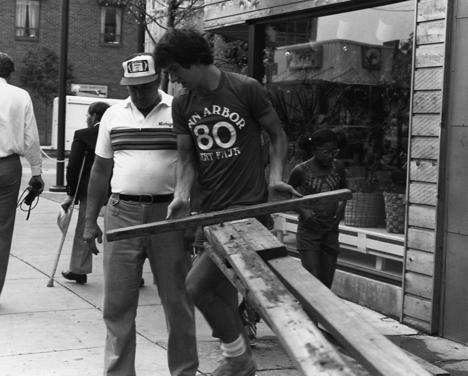 Constructing Artist Booths at the Street Art Fair, ca. 1980s image