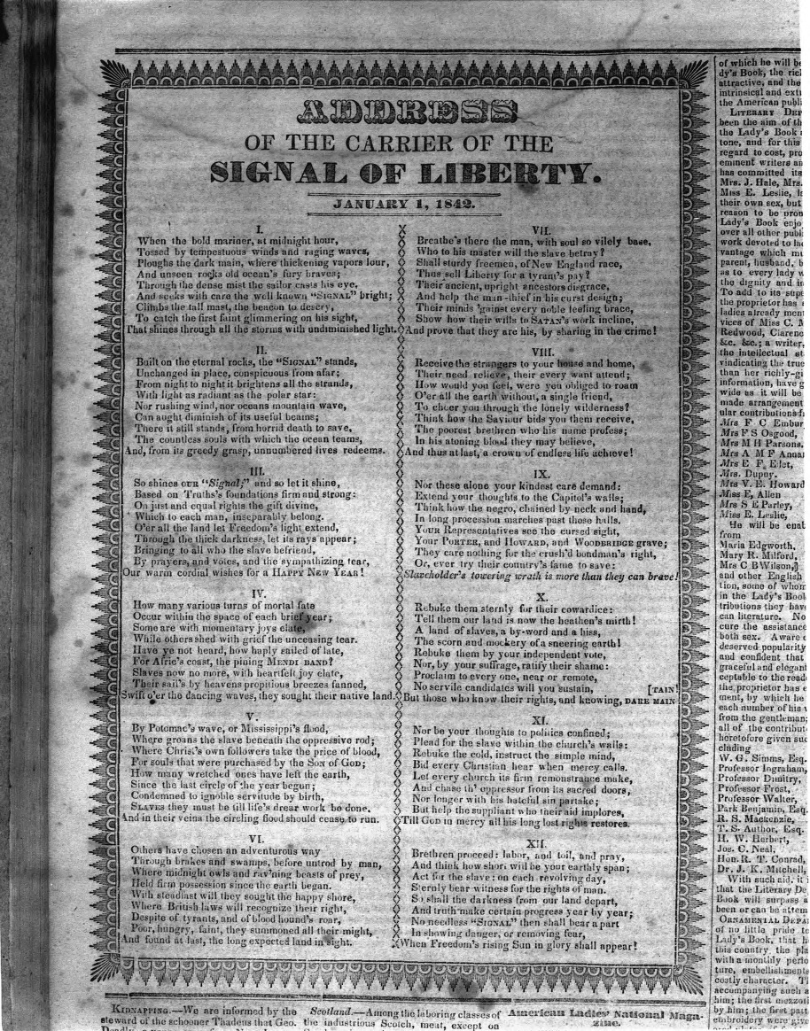 Signal of Liberty: Address of the Carrier, Jan. 1, 1849 (BL000757) image