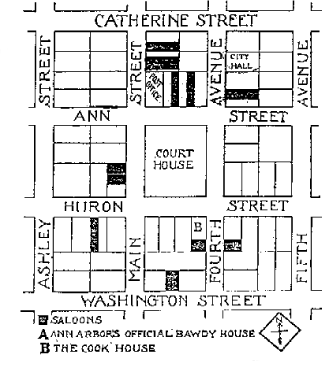 A 1898 map showing eleven saloons clustered within a block of the Courthouse image