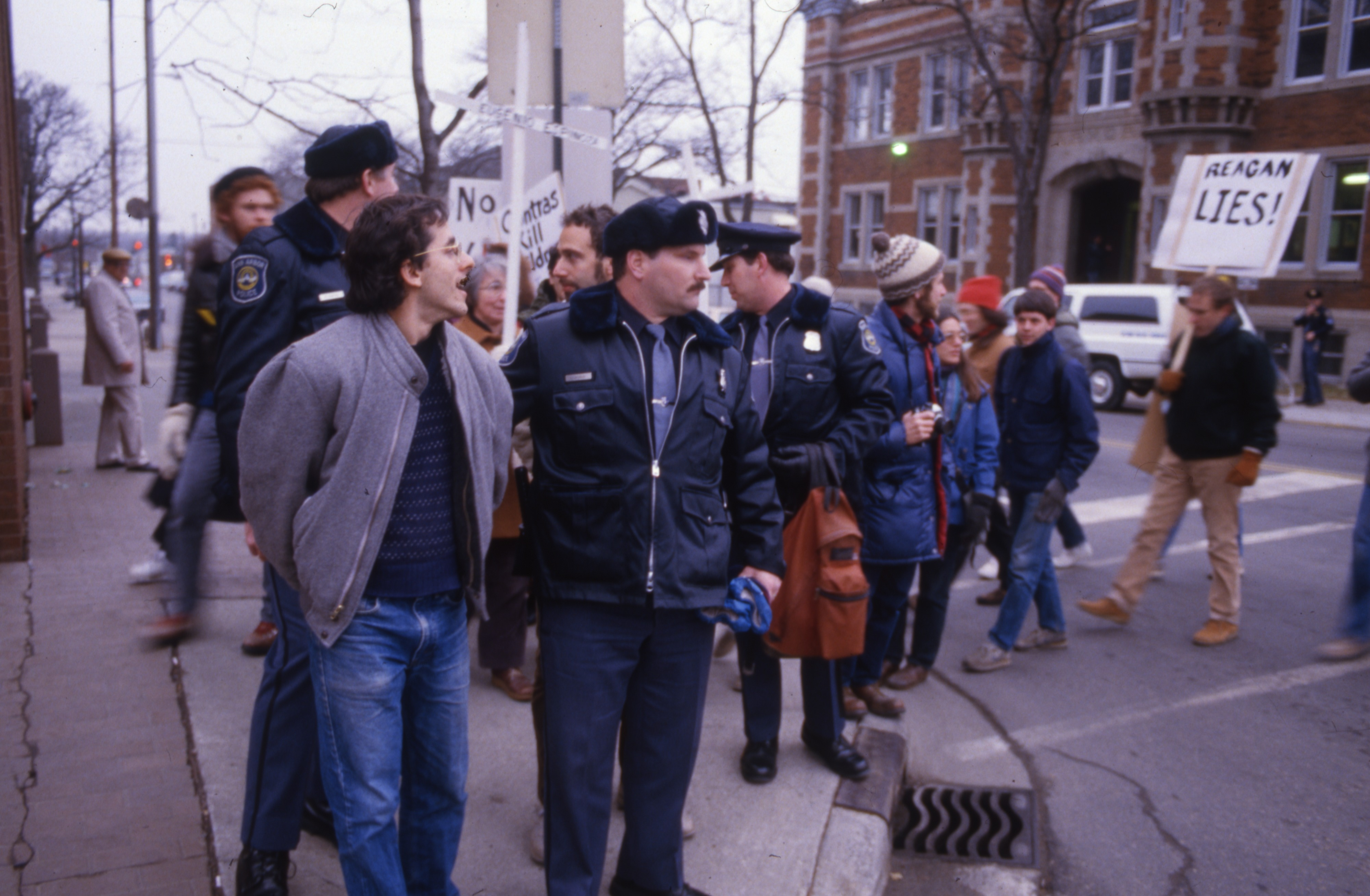Ann Arbor Police Arrest Dean Baker Following Protest at Armory Building, January 1987 image