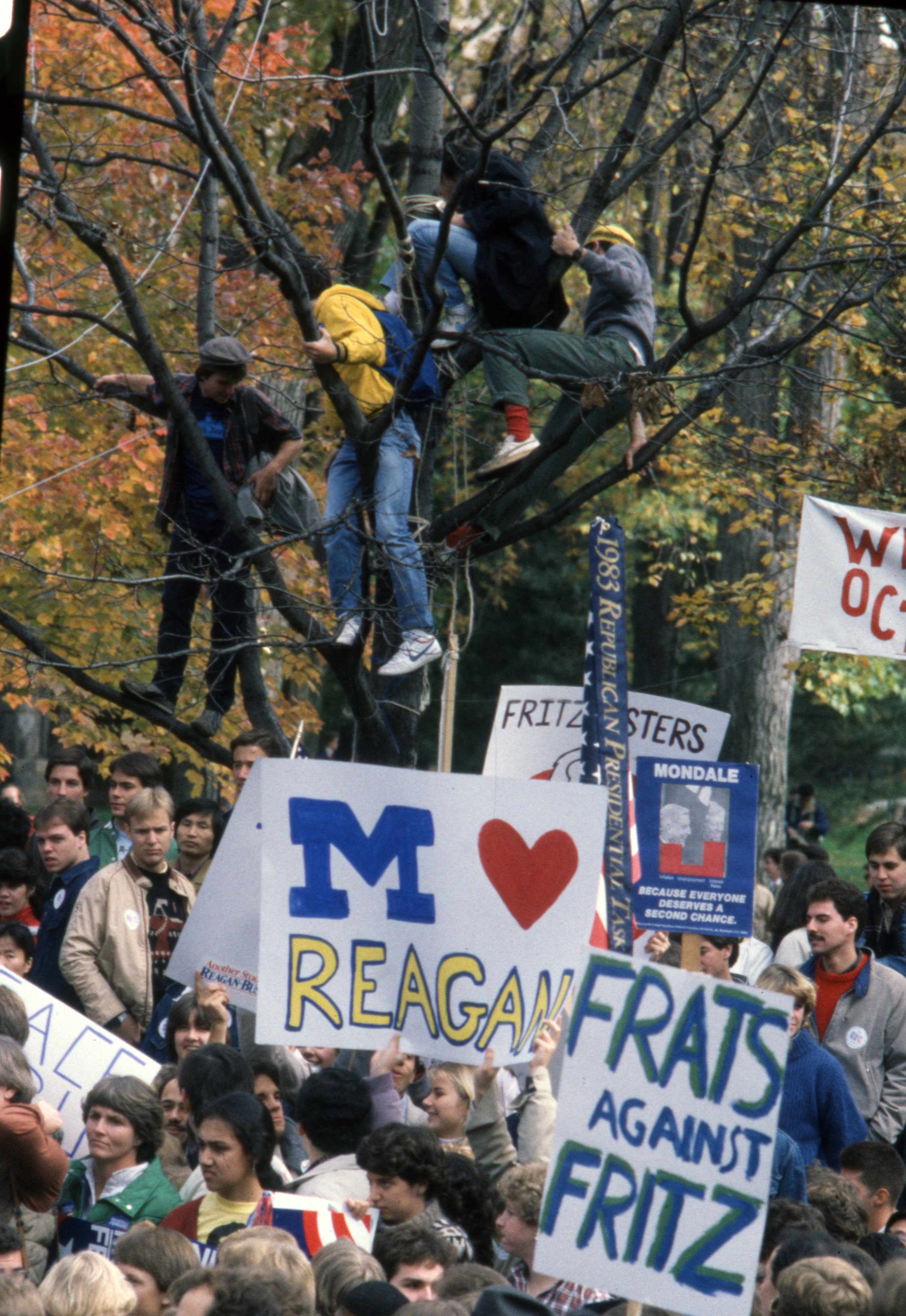 Crowd Gathered On The Diag For Walter Mondale's Campaign Rally, October 1984 image