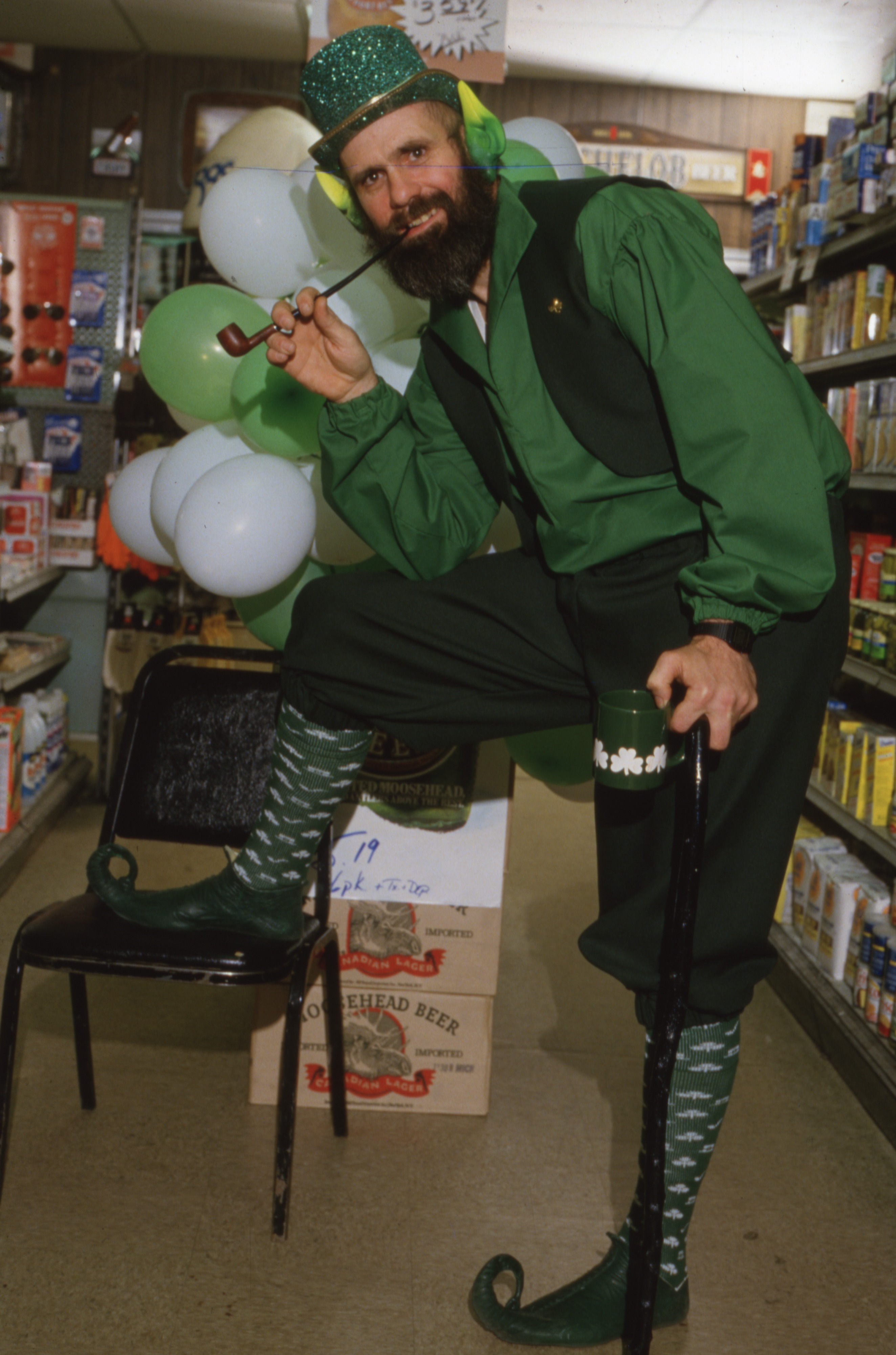 Patrick Gannon, Owner of Falsetta's Market, Dressed For St. Patrick's Day - March 1985 image