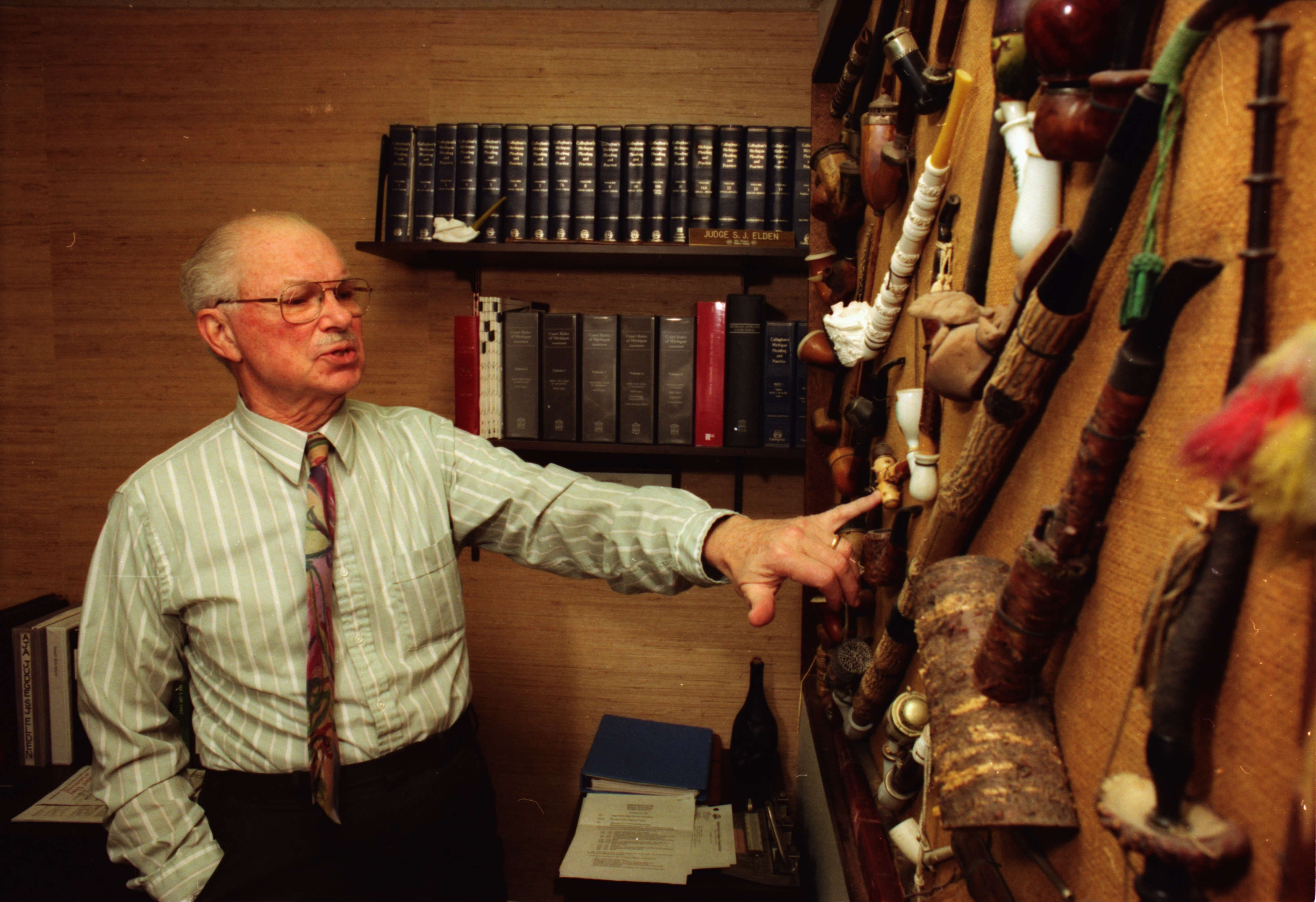 Judge S. J. Elden with Pipe Collection, December 1992 image
