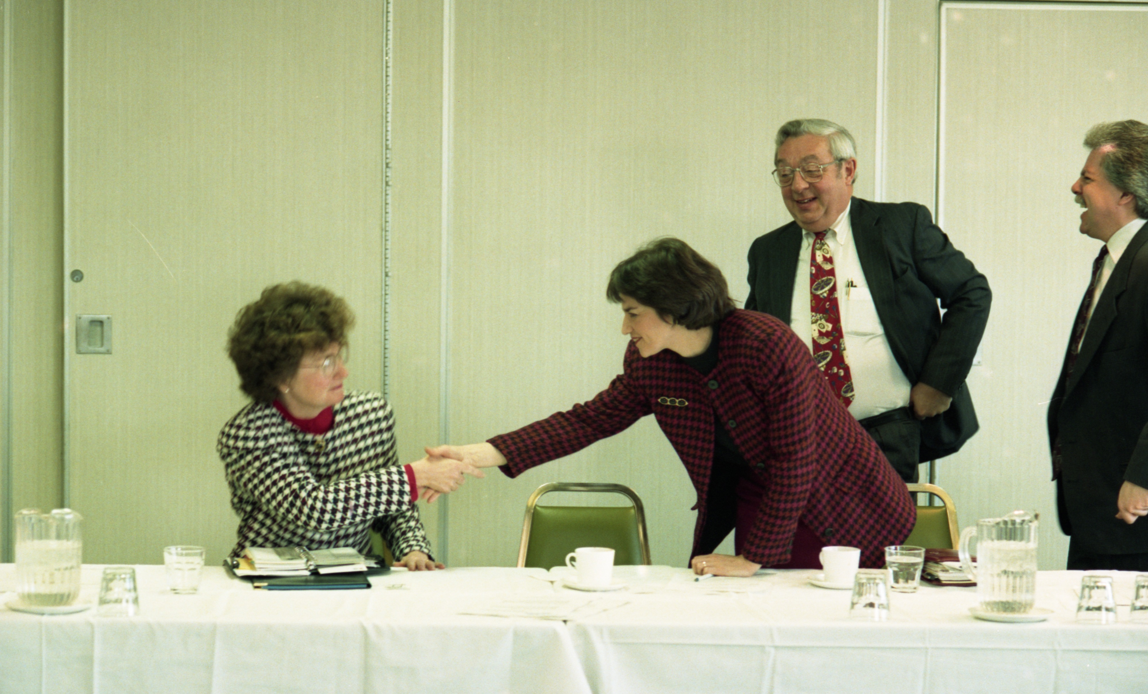 Ingrid Sheldon, Emily Salvette, and Liz Brater at First Mayoral Debate (Campus Inn), March 1993 image
