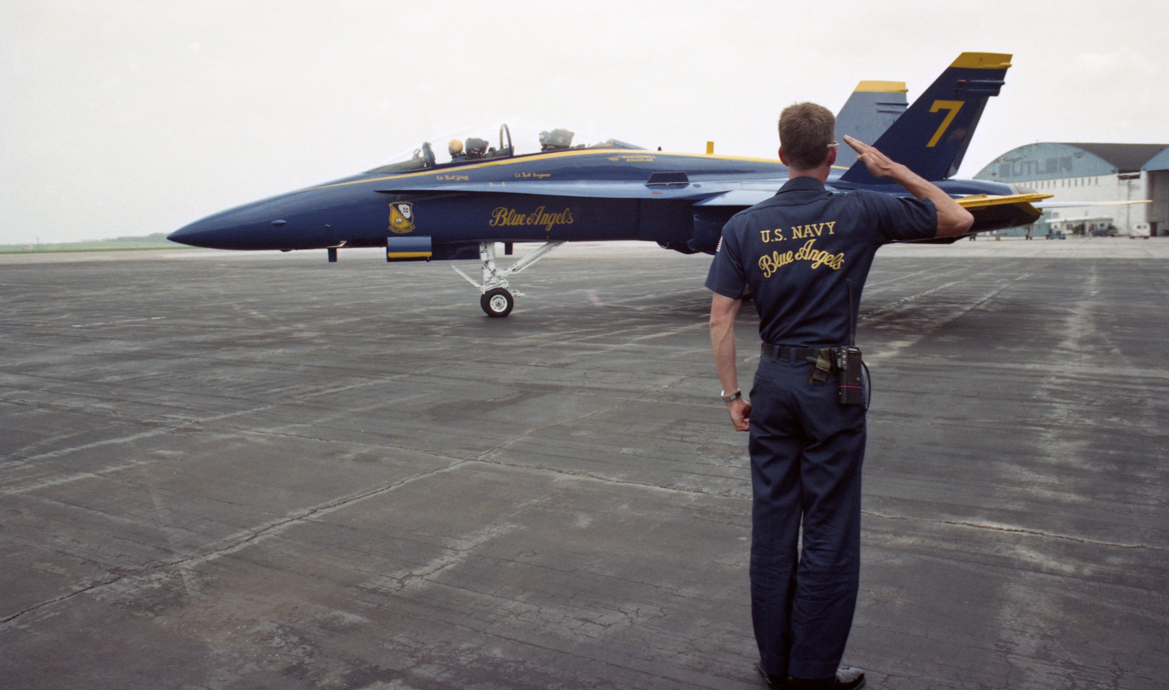 Blue Angels Crew Chief Greg Braden Salutes The Plane Carrying Ann Arbor News Reporter Pat Windsor, May 1993 image