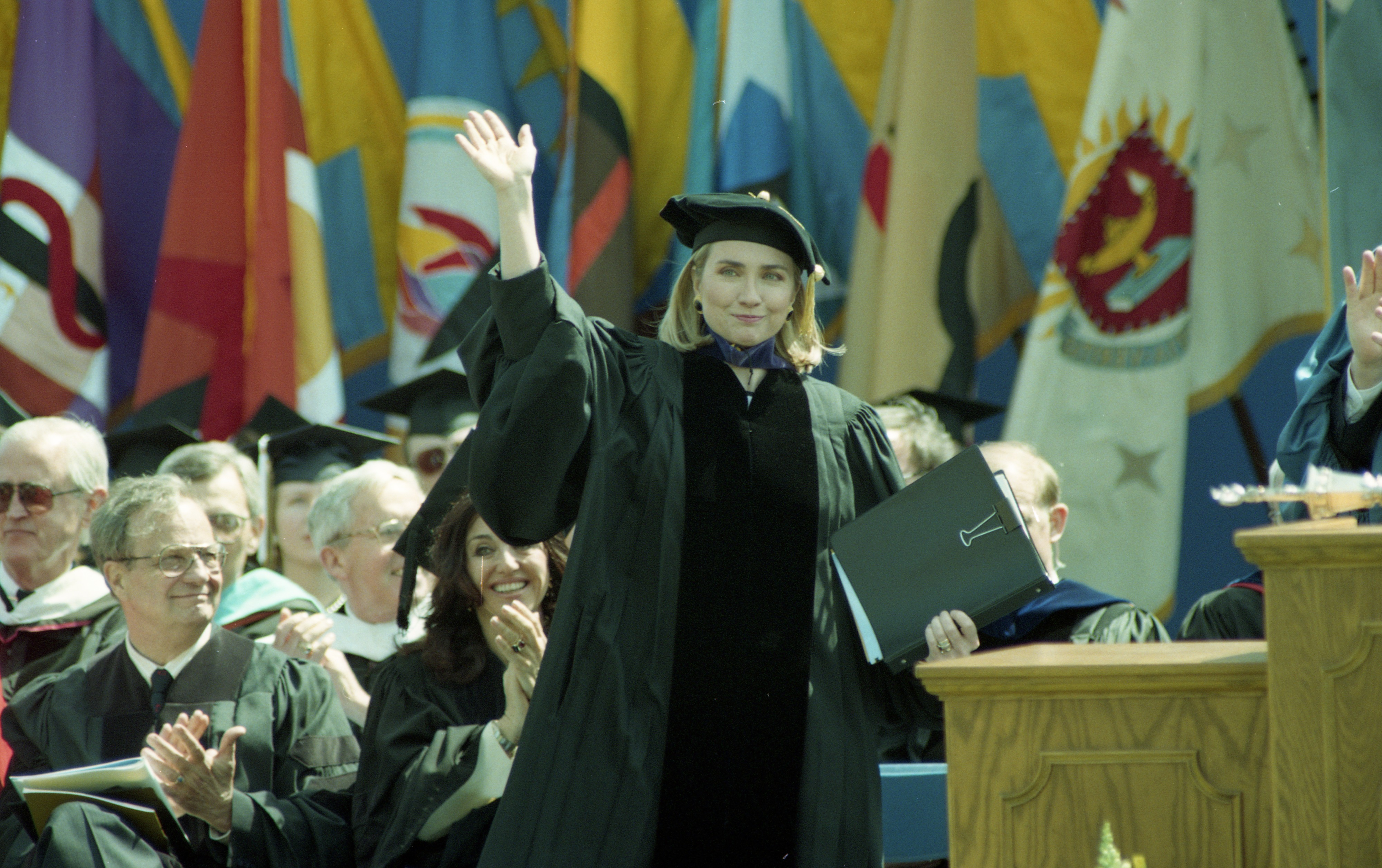 First Lady Hillary Clinton Applauded After Speech at University of Michigan Commencement, May 1993 image