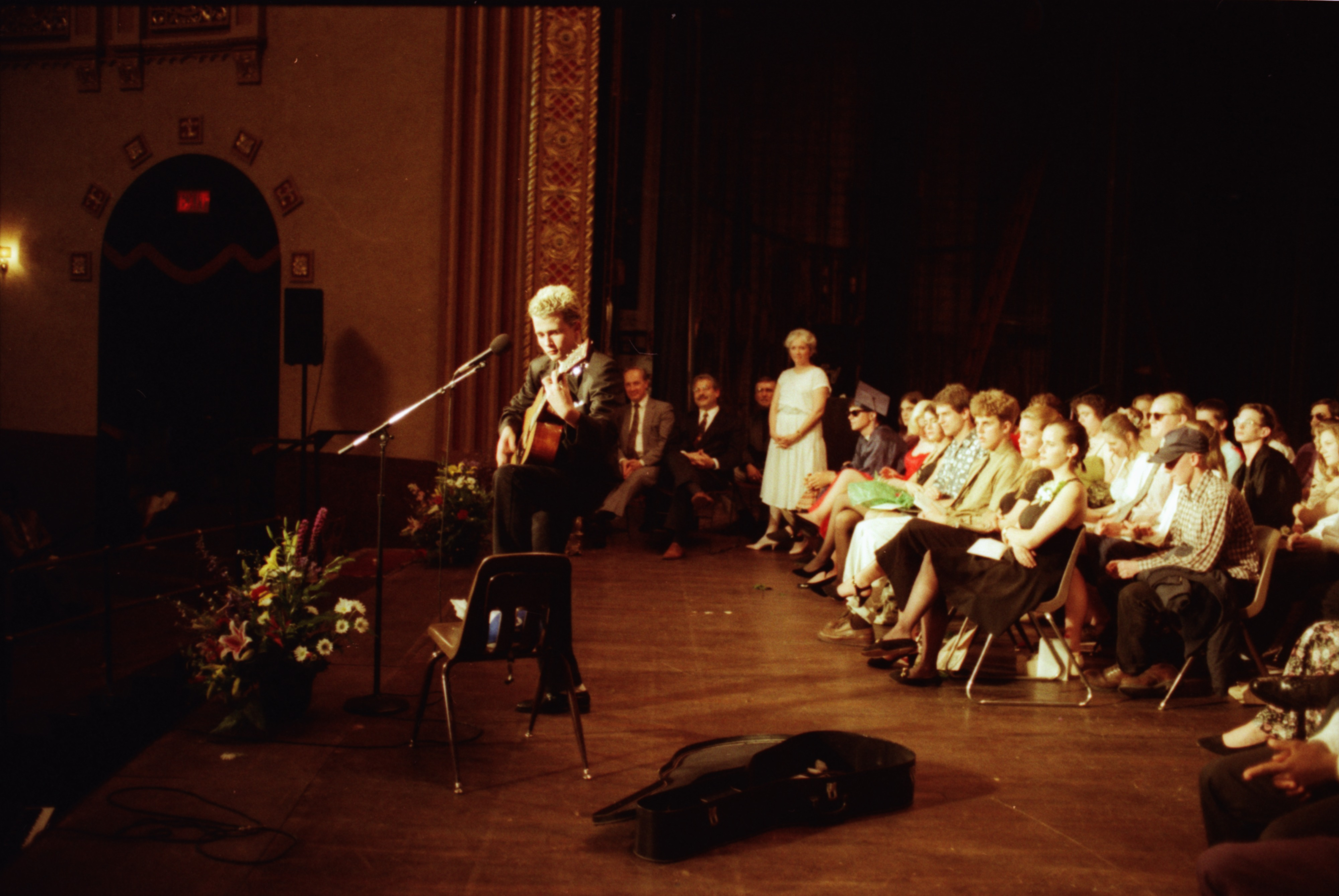 Class of '93 Student Plays Guitar At Community High School Graduation, June 1993 image
