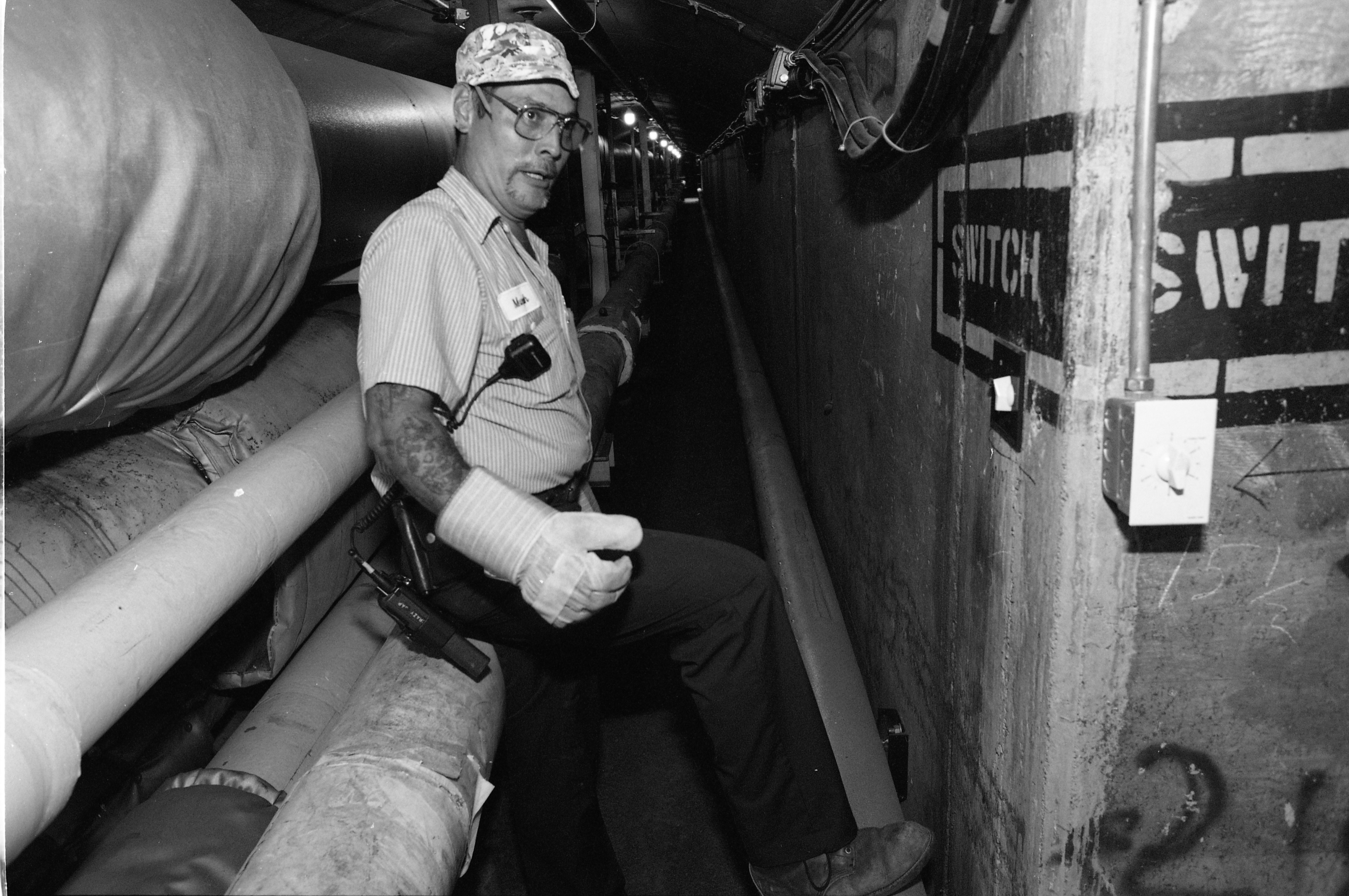 Mike Klapperich, Steamfitter, Working On The Pipes In The U-M Tunnels, July 28, 1993 image