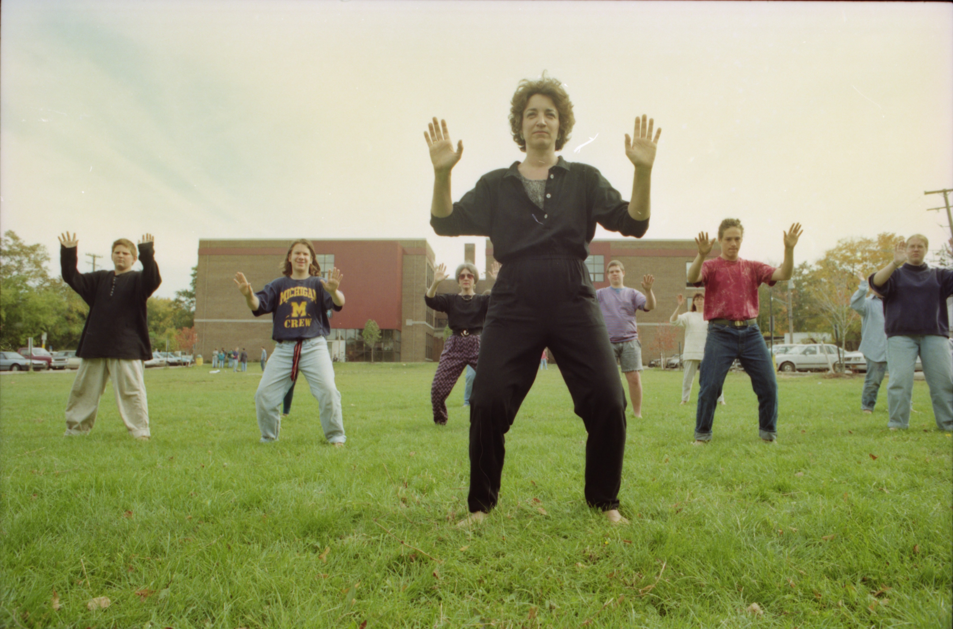 Tasha Lebow teaches tai chi to Community High School students, October 1993 image