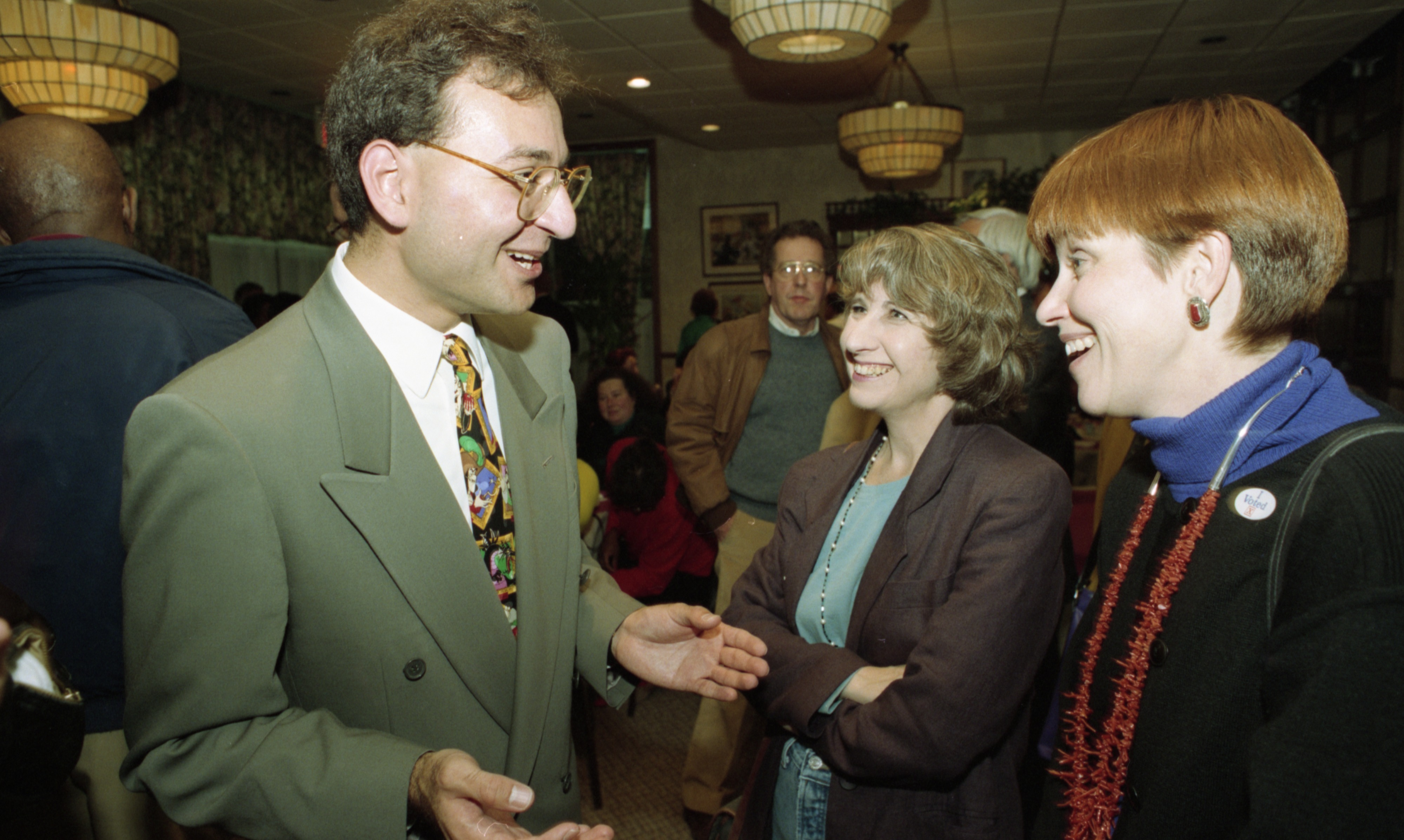 Peter Nicolas, Grace Shackman, & Rebecca Head During Ann Arbor City Council Elections, November 1993 image