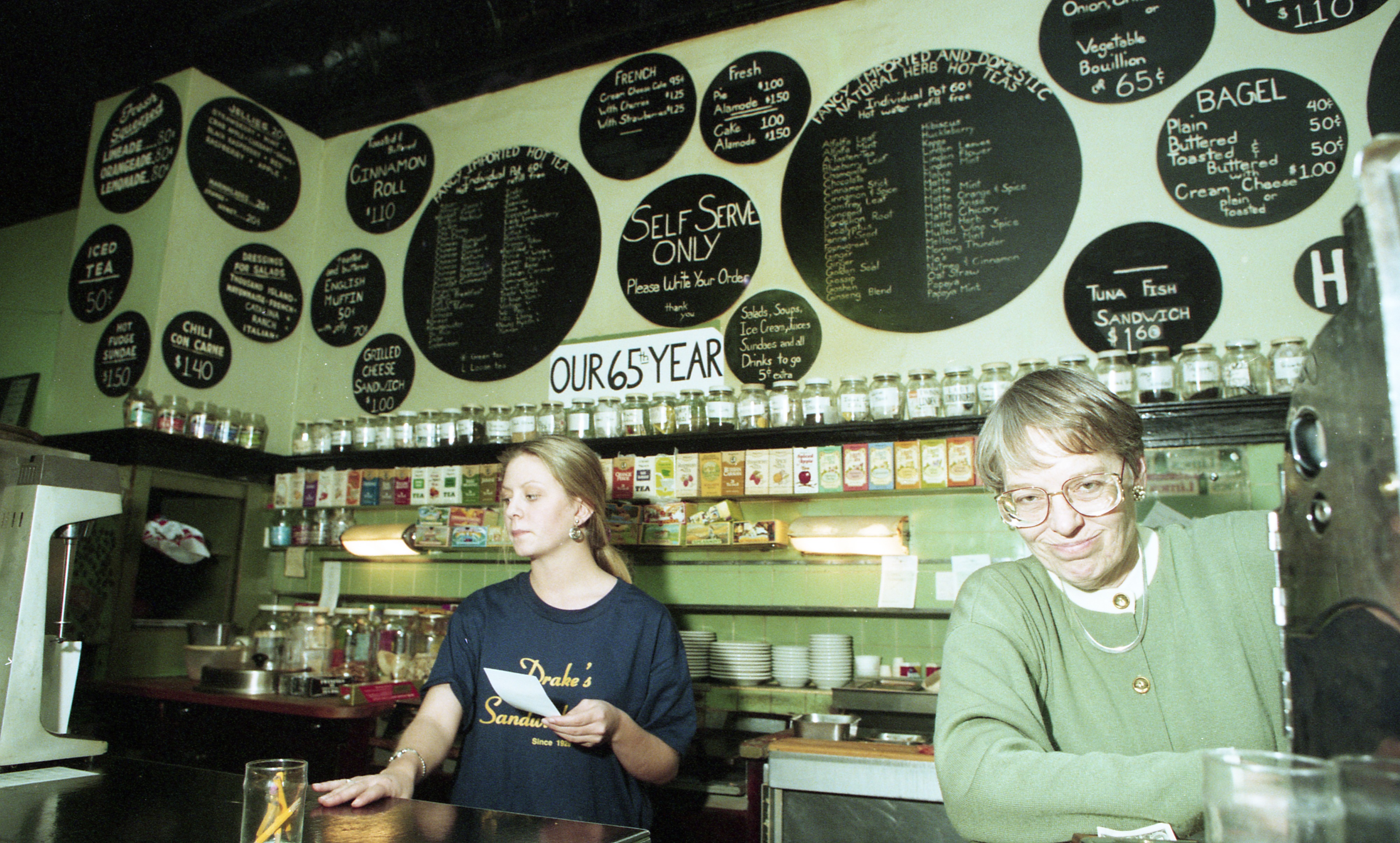 Eleanor Tibbals & Staff Serve Customers At Drake's Sandwich Shop, November 13, 1993 image