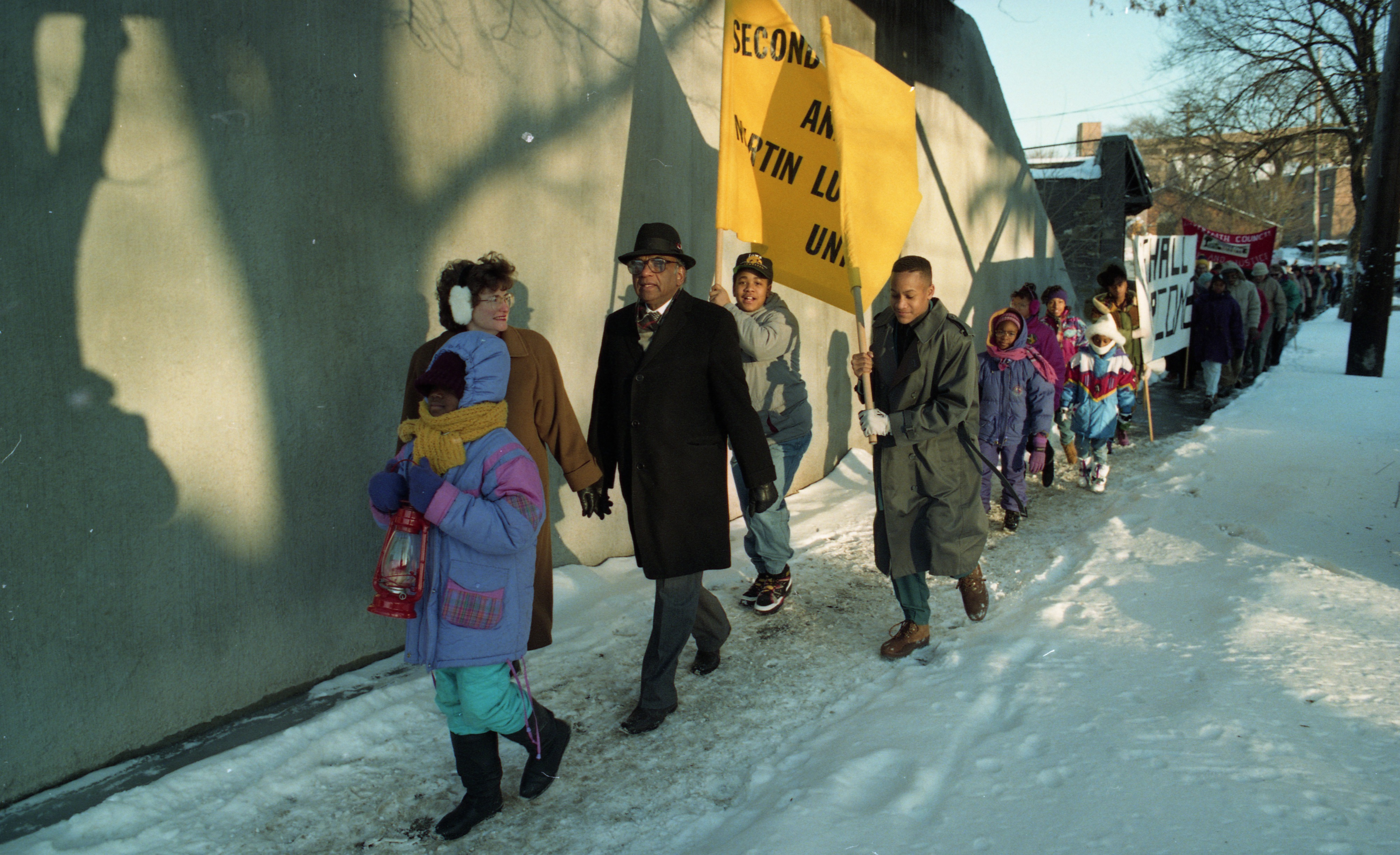 Banners Lead the Second Baptist Church Annual Unity March To Honor Dr. Martin Luther King Jr., January 1994 image