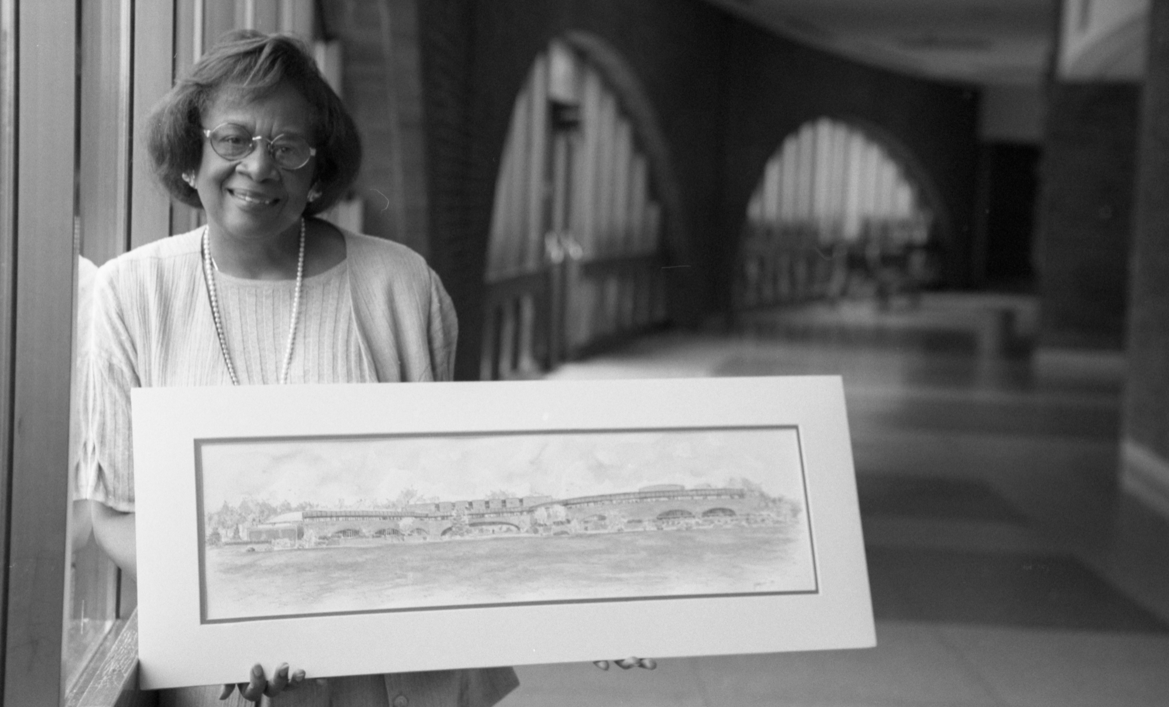 Joetta Mial, Retiring Principal At Huron High School, Holding Picture, July 1994 image