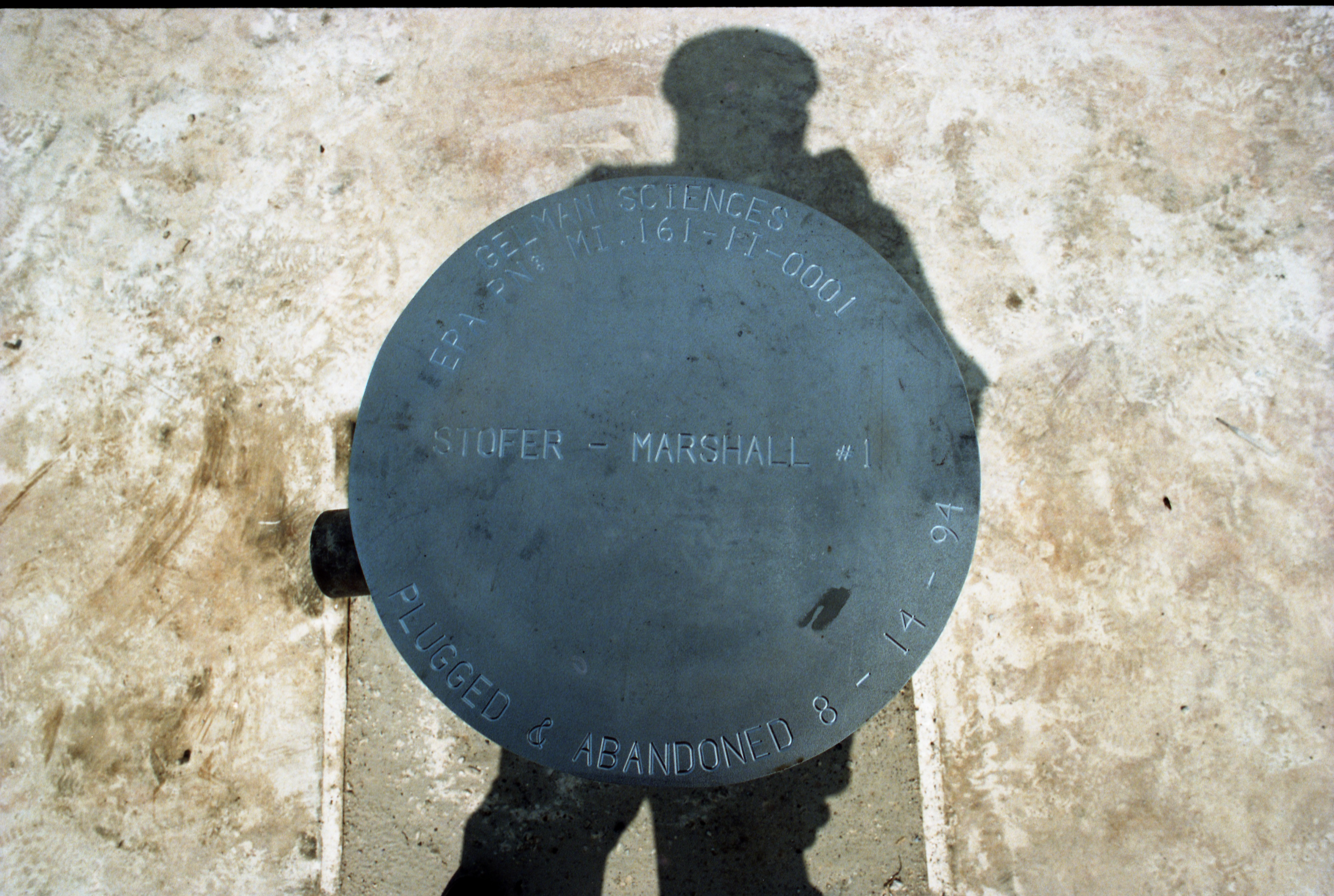 Metal Cap That Marks Gelman's Deep Injection Well Closure, August 1994 image