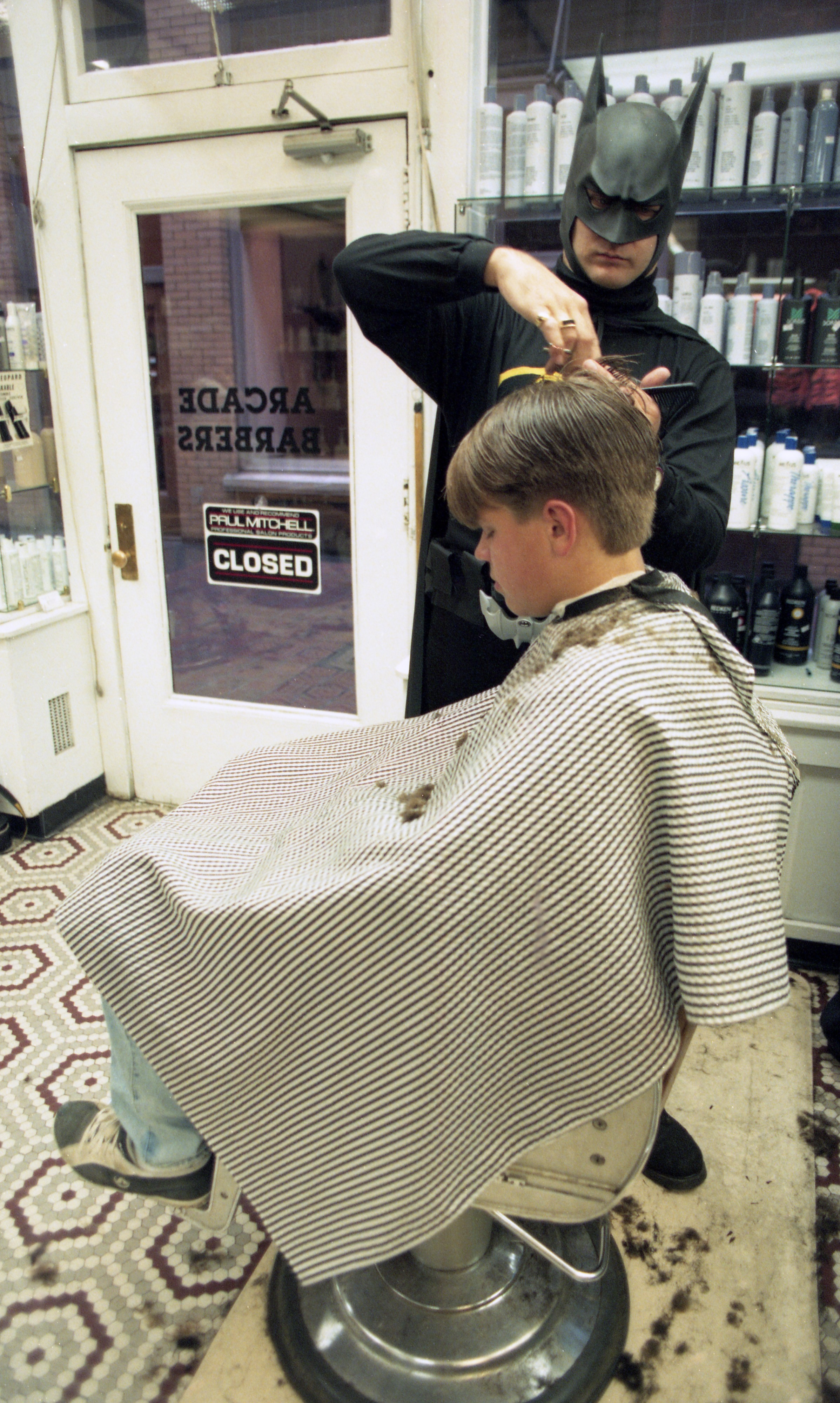 Batman Cuts Hair At The Arcade Barbers On Halloween - October 31, 1994 image