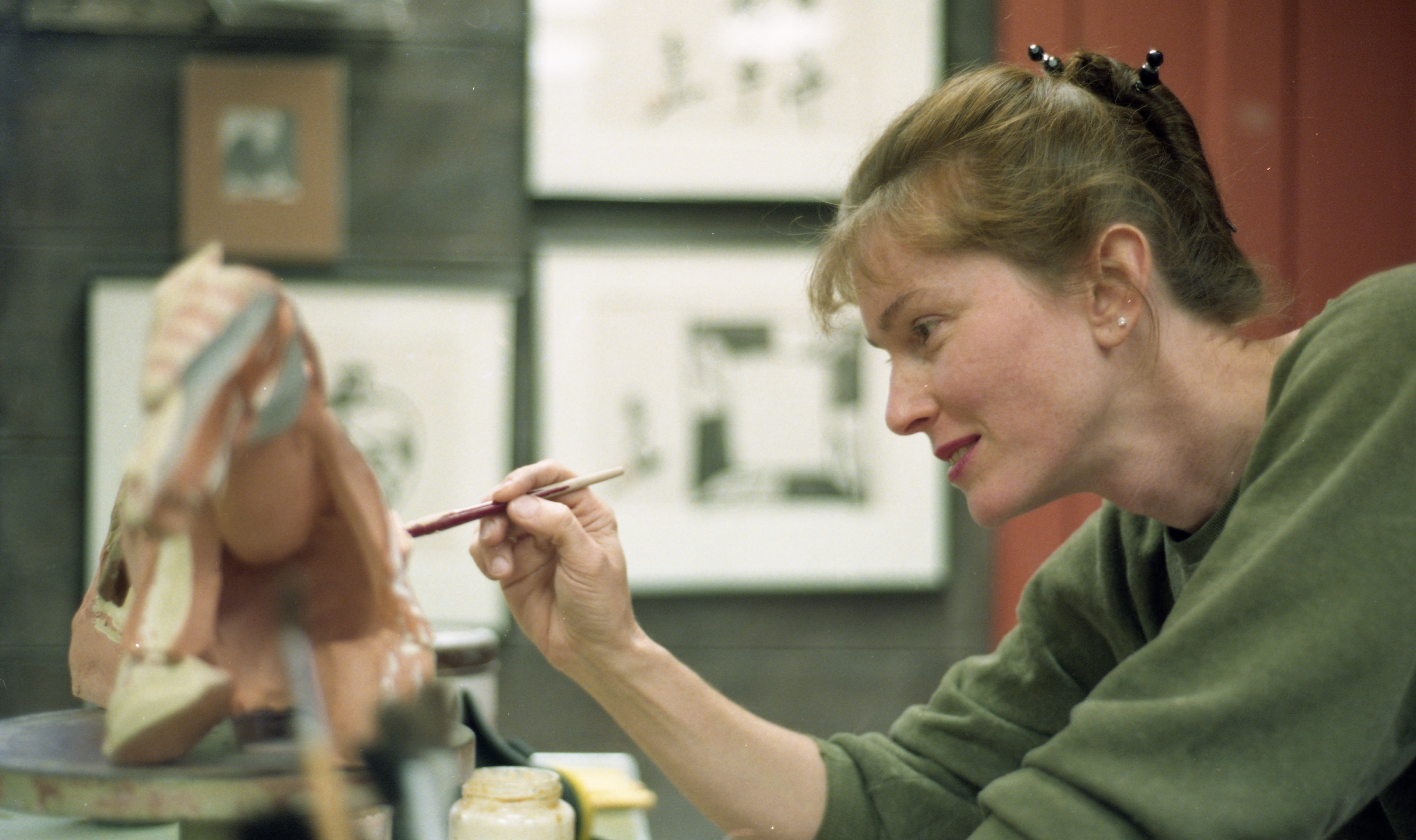 Jeri Hollister Works On A Sculpture At The Ann Arbor Potters Guild, November 1994 image