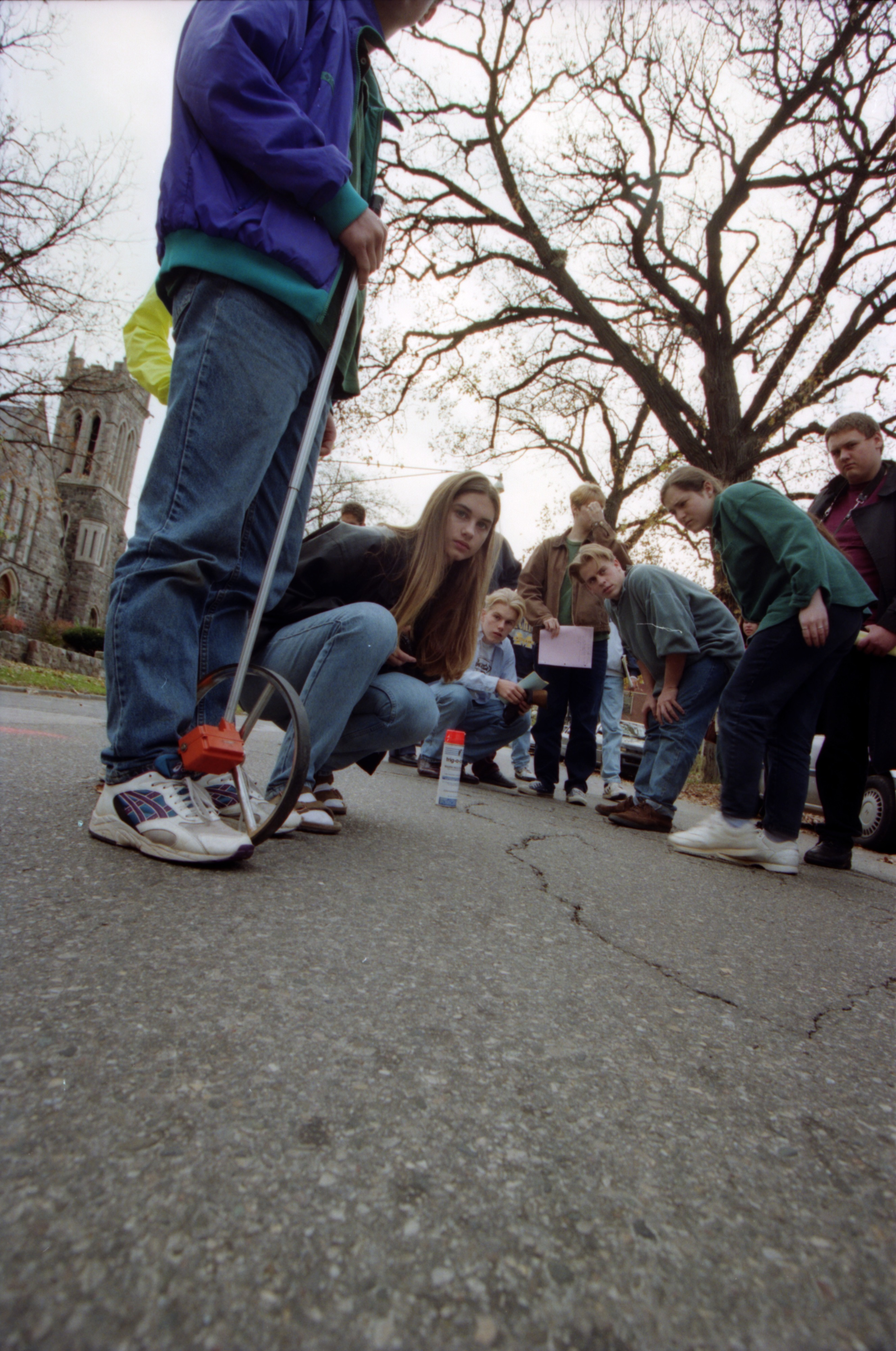 Community High Students Learn the Physics Of Accident Investigation With The Ann Arbor Police Department, November 1994 image