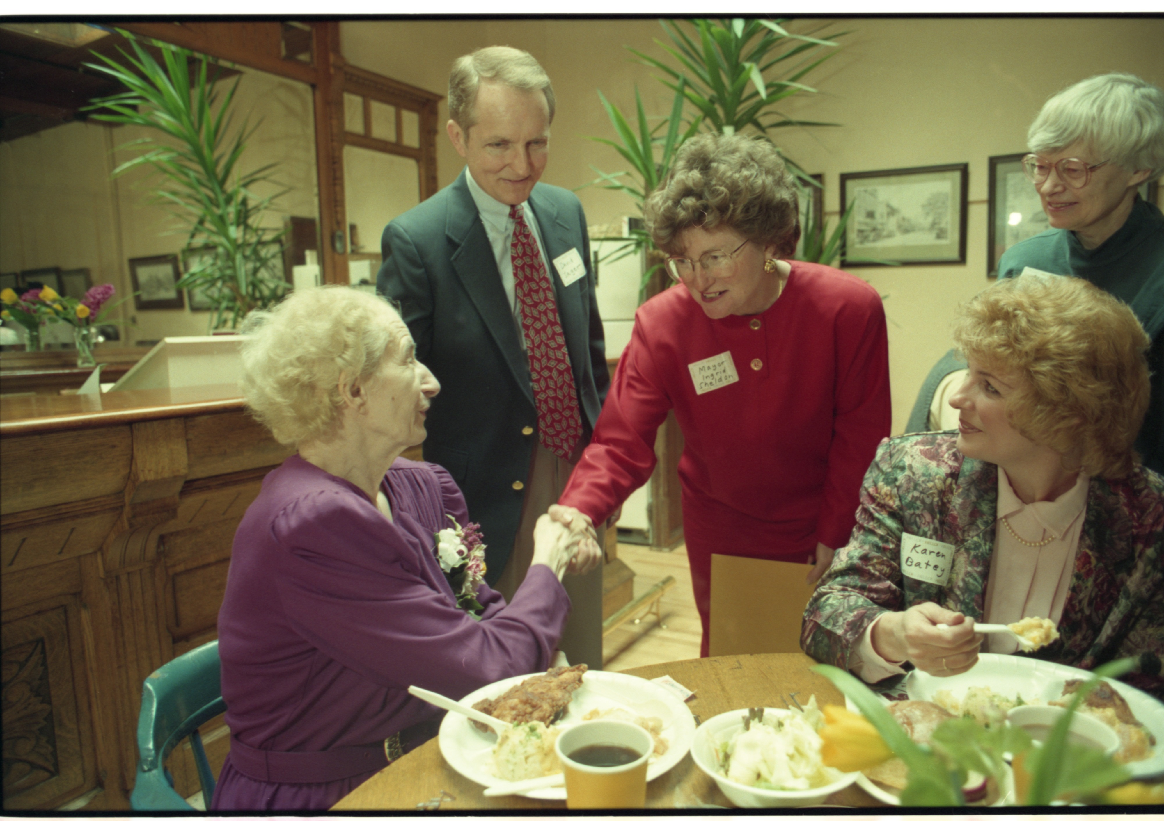 Mayor Ingrid Sheldon Greets Roundtable Restaurant Owner Evelyn Stack, March 1995 image
