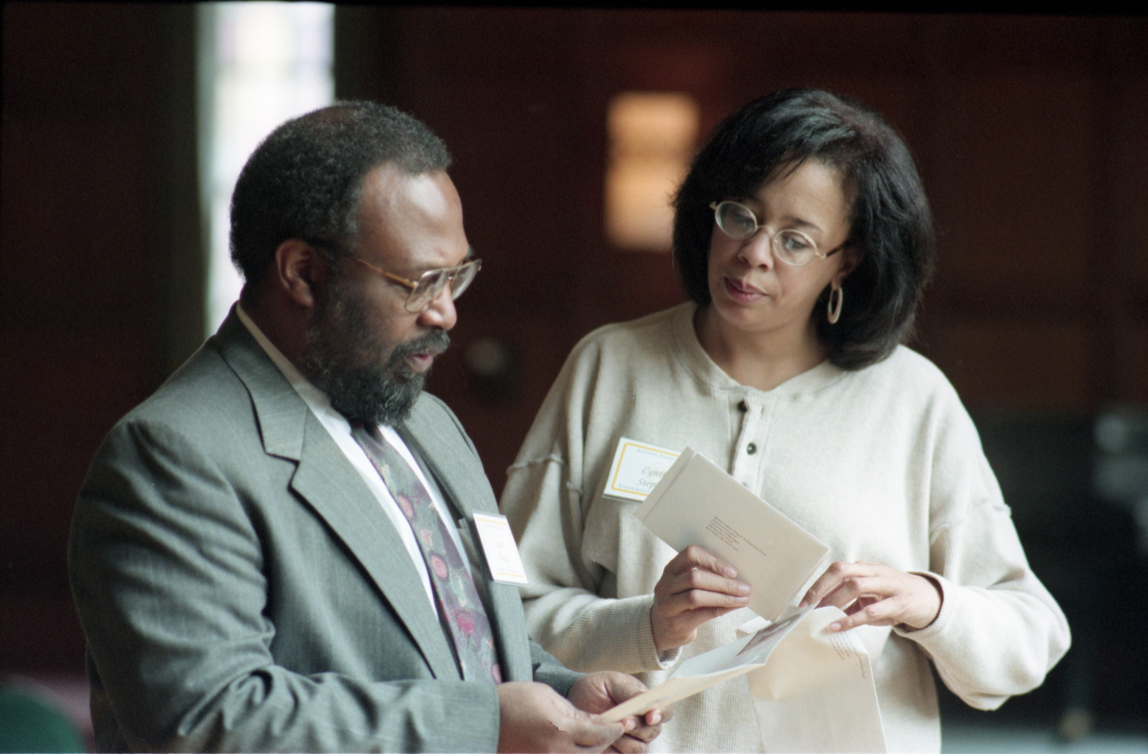 Lester Monts & Cynthia Stevens At The 25th Anniversary Of The Black Action Movement Strike, April 2, 1995 image