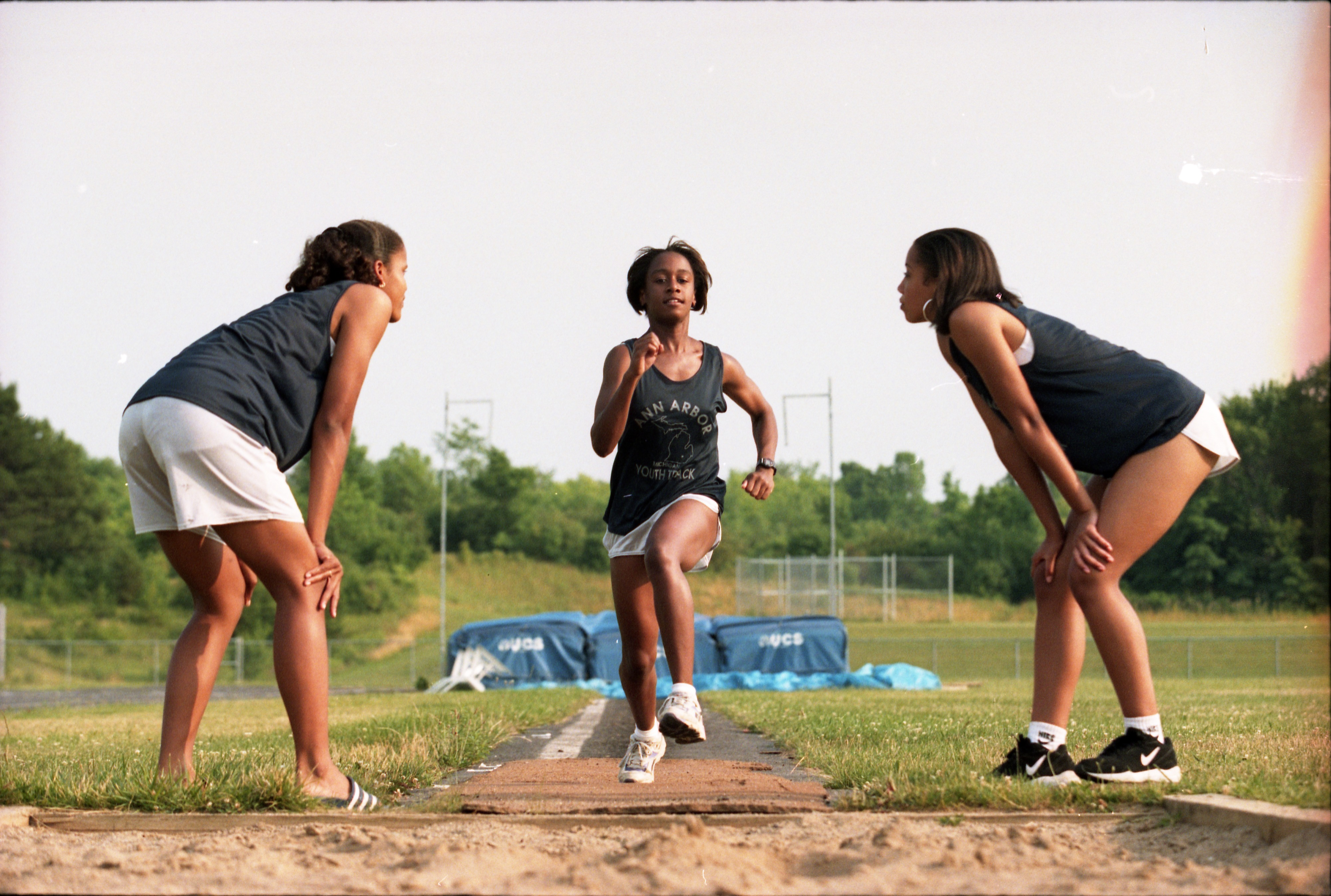 Joneigh Slaughter Of The Ann Arbor Youth Track Club Practices Her Long Jump, August 8, 1995 image
