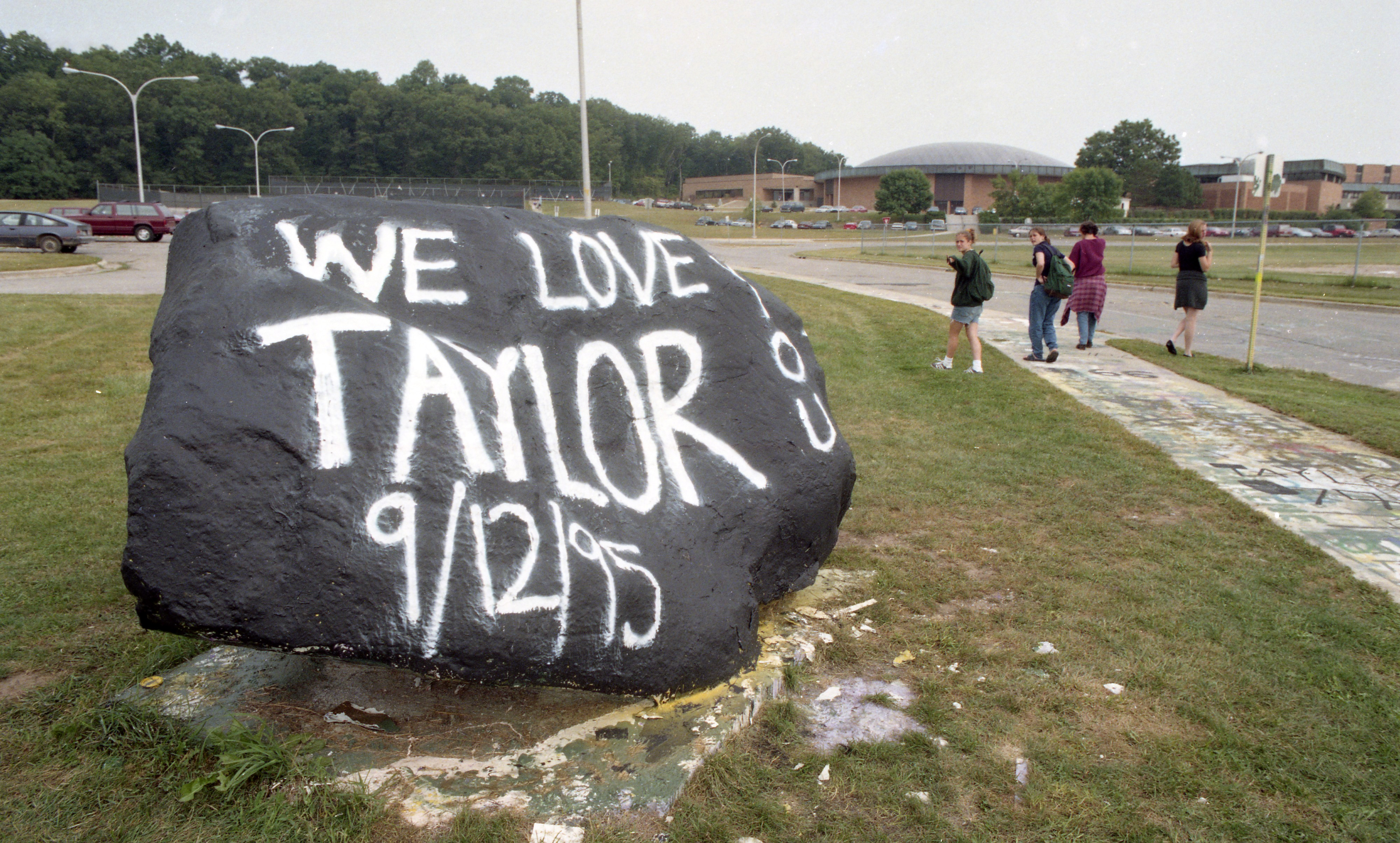 Rock In Front Of Huron High School Painted In Memory Of Taylor Calhoun, September 1995 image