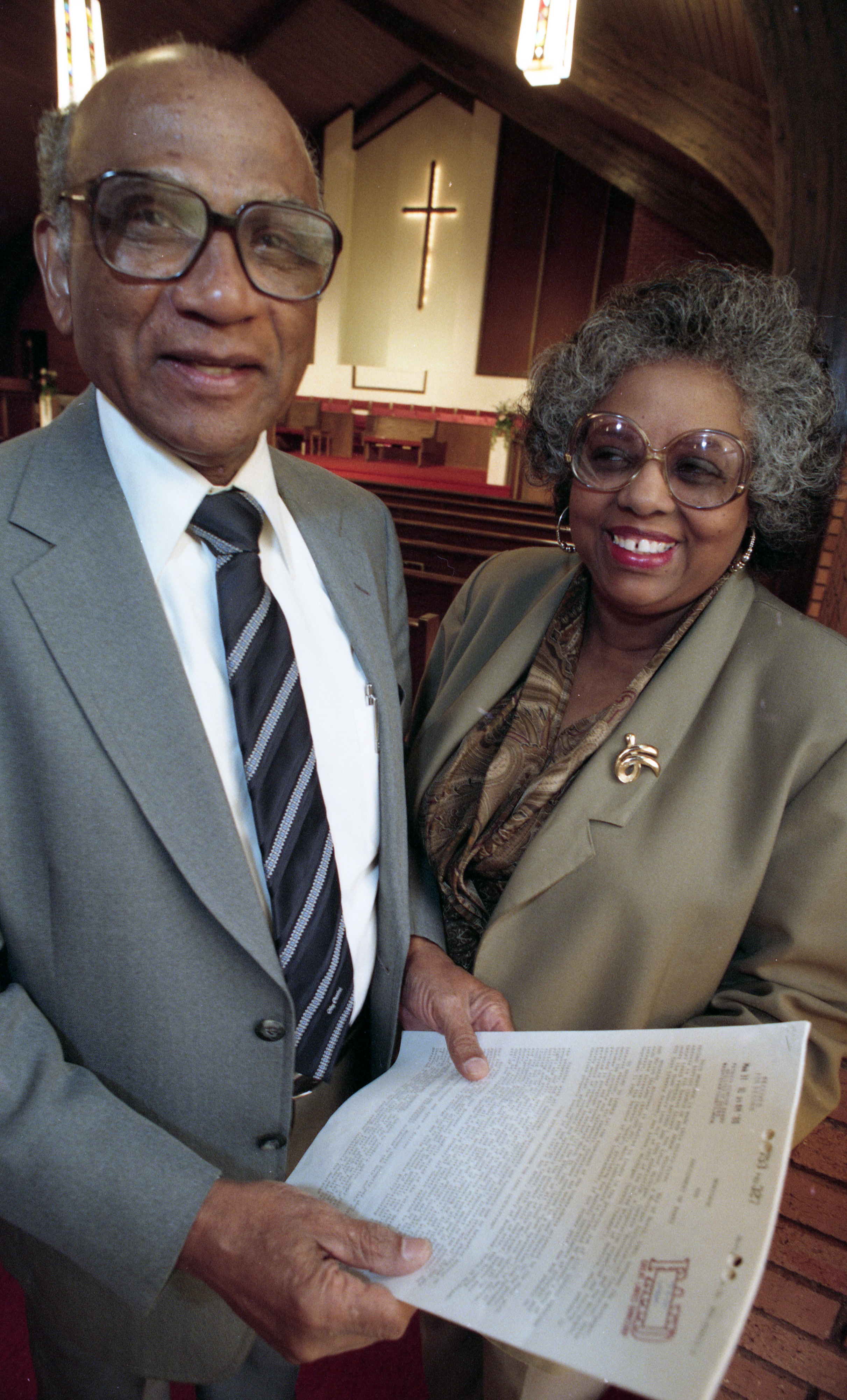 Rev. Emmett Green and Audrey Lucas Plan the Second Baptist Church Mortgage Burning Celebration, October 1995 image