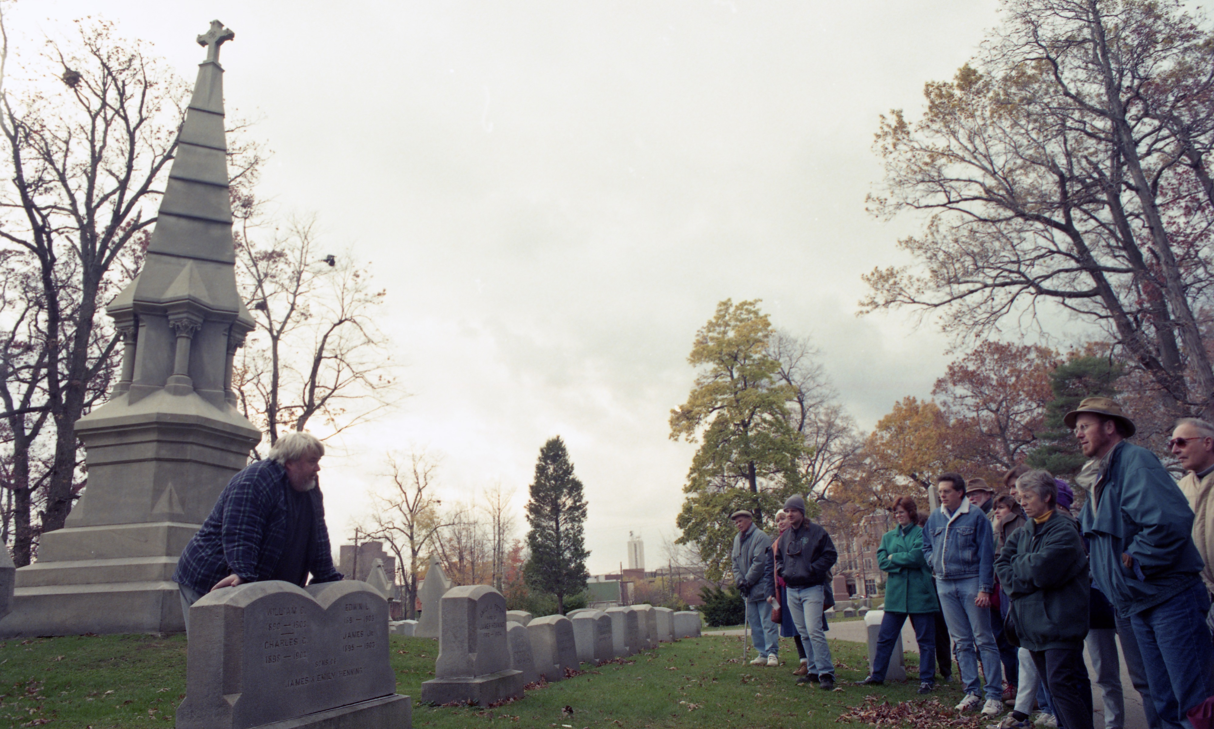 Wystan Stevens Leads A Tour Group Through Forest Hill Cemetery, October 1995 image