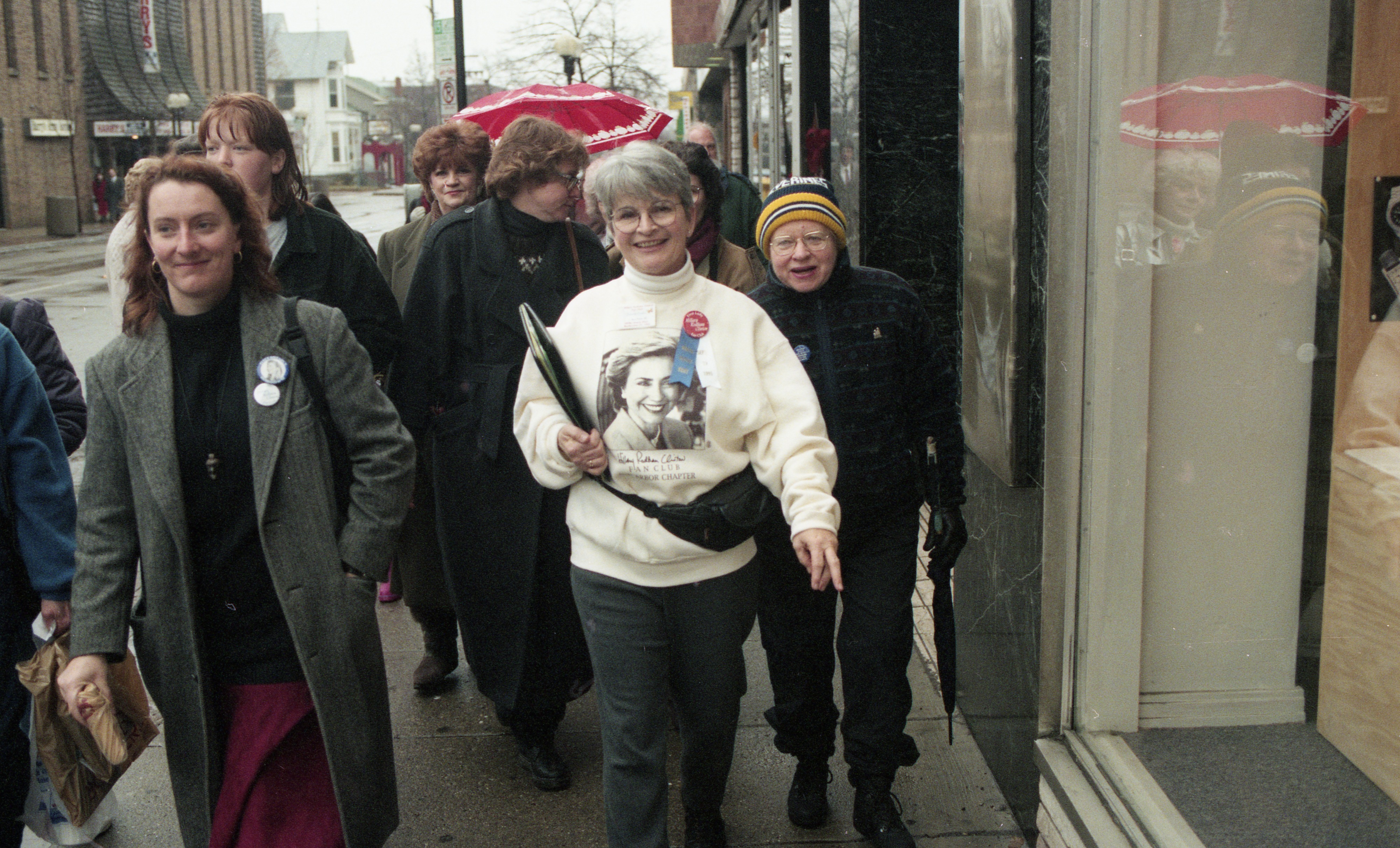 Hillary Clinton Fan Club Arrives At Michigan Theater For Reception, January 1996 image
