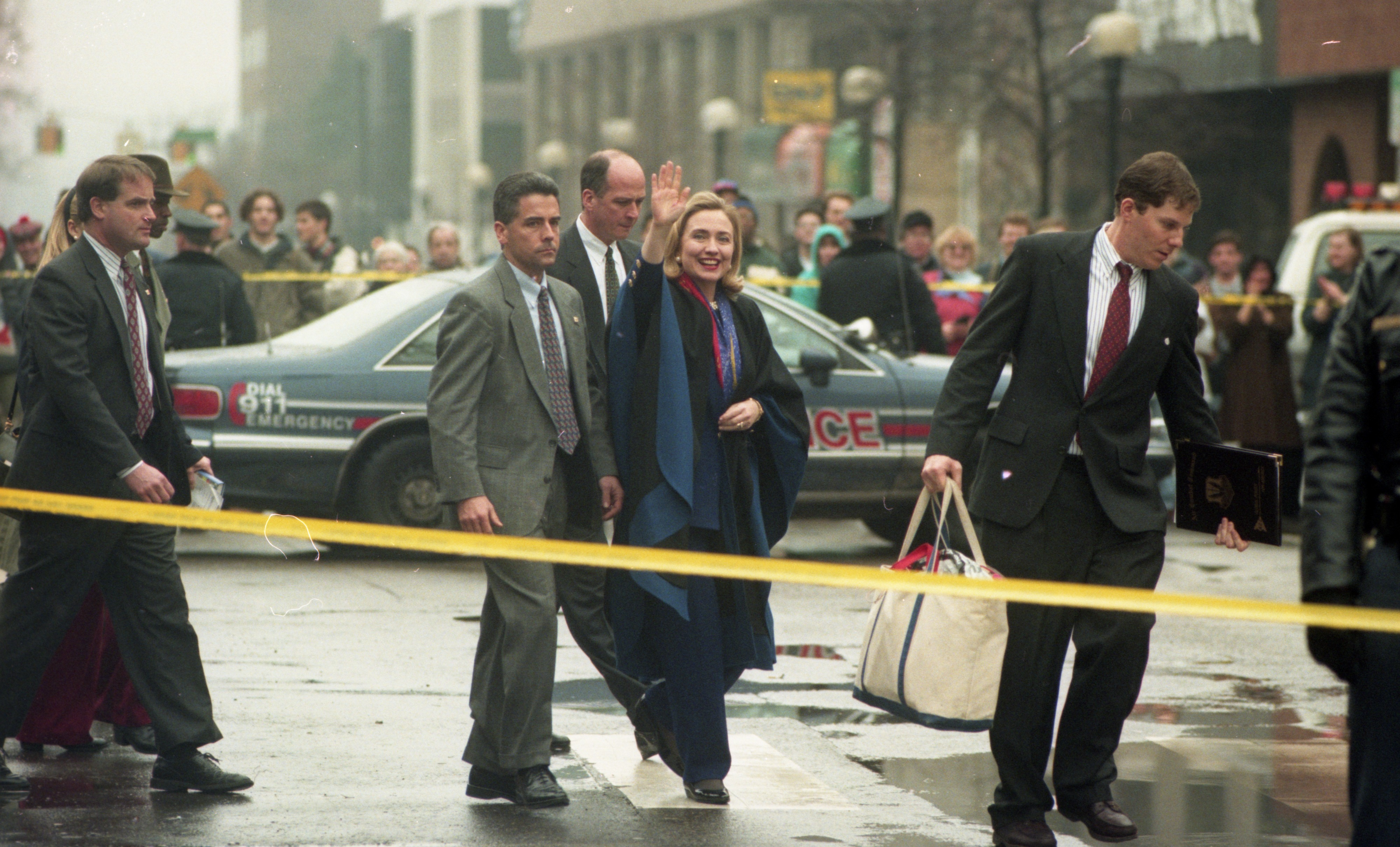 Hillary Clinton Arrives for Book Signing at Borders Books, January 1996 image