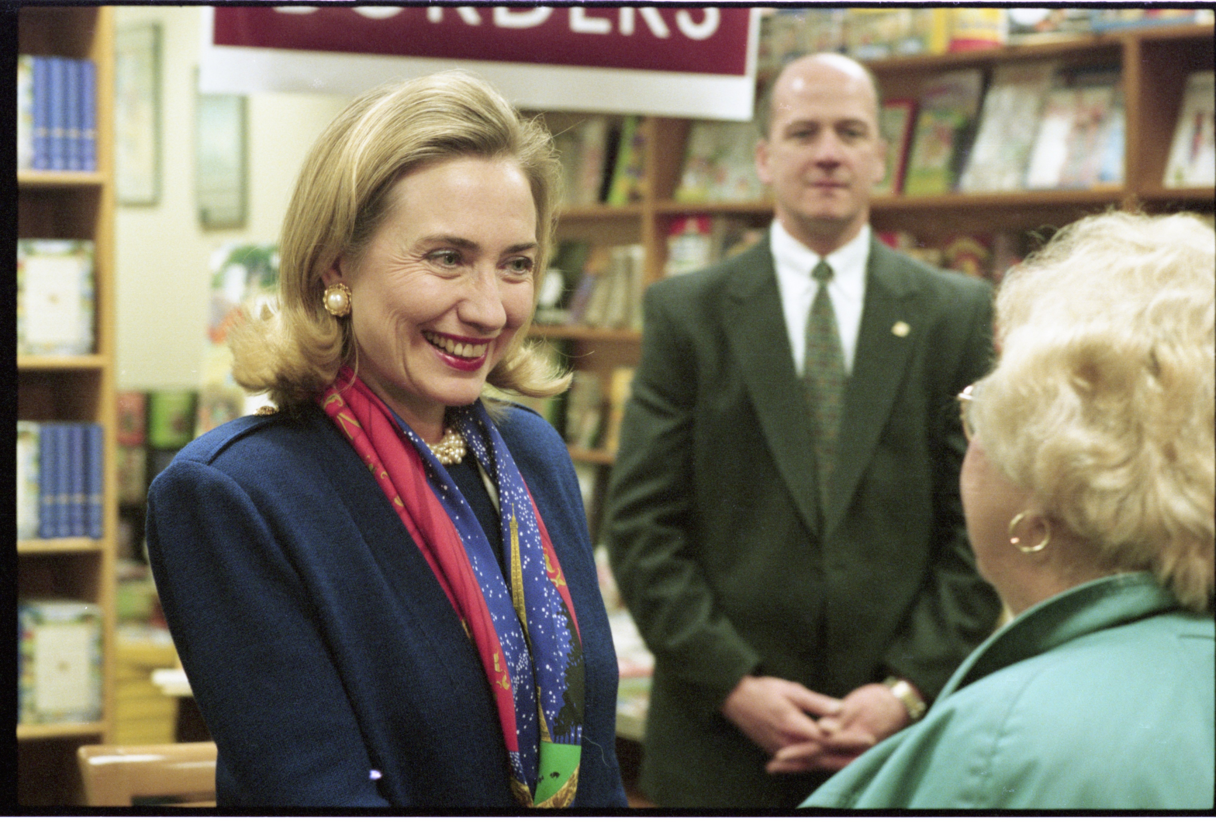 Hillary Rodham Clinton Promotes Her New Book At Borders Bookstore, January 1996 image