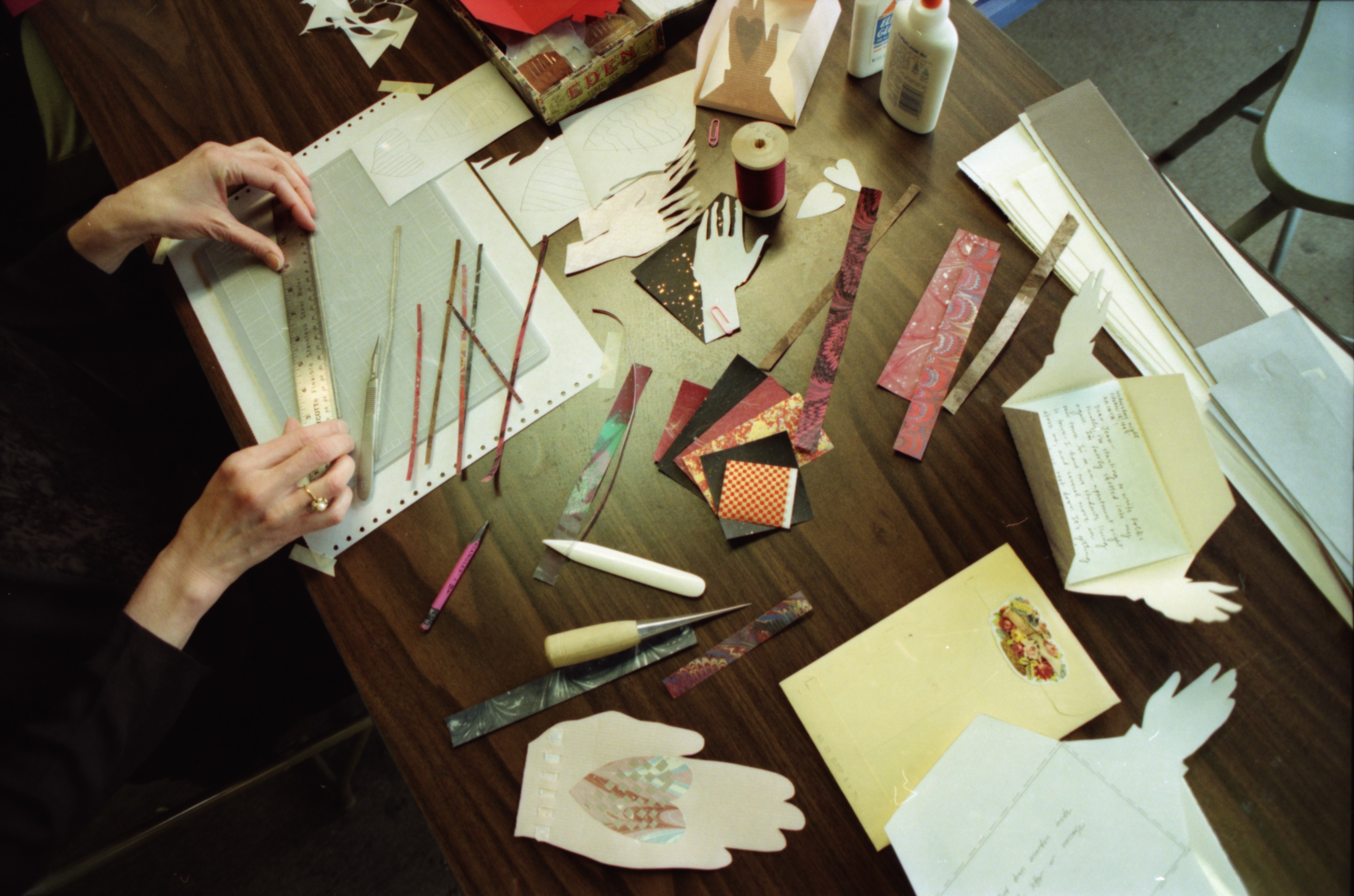 Jean Buescher Demonstrates at Valentine's Day Card Workshop at Hollander's, February 1996 image