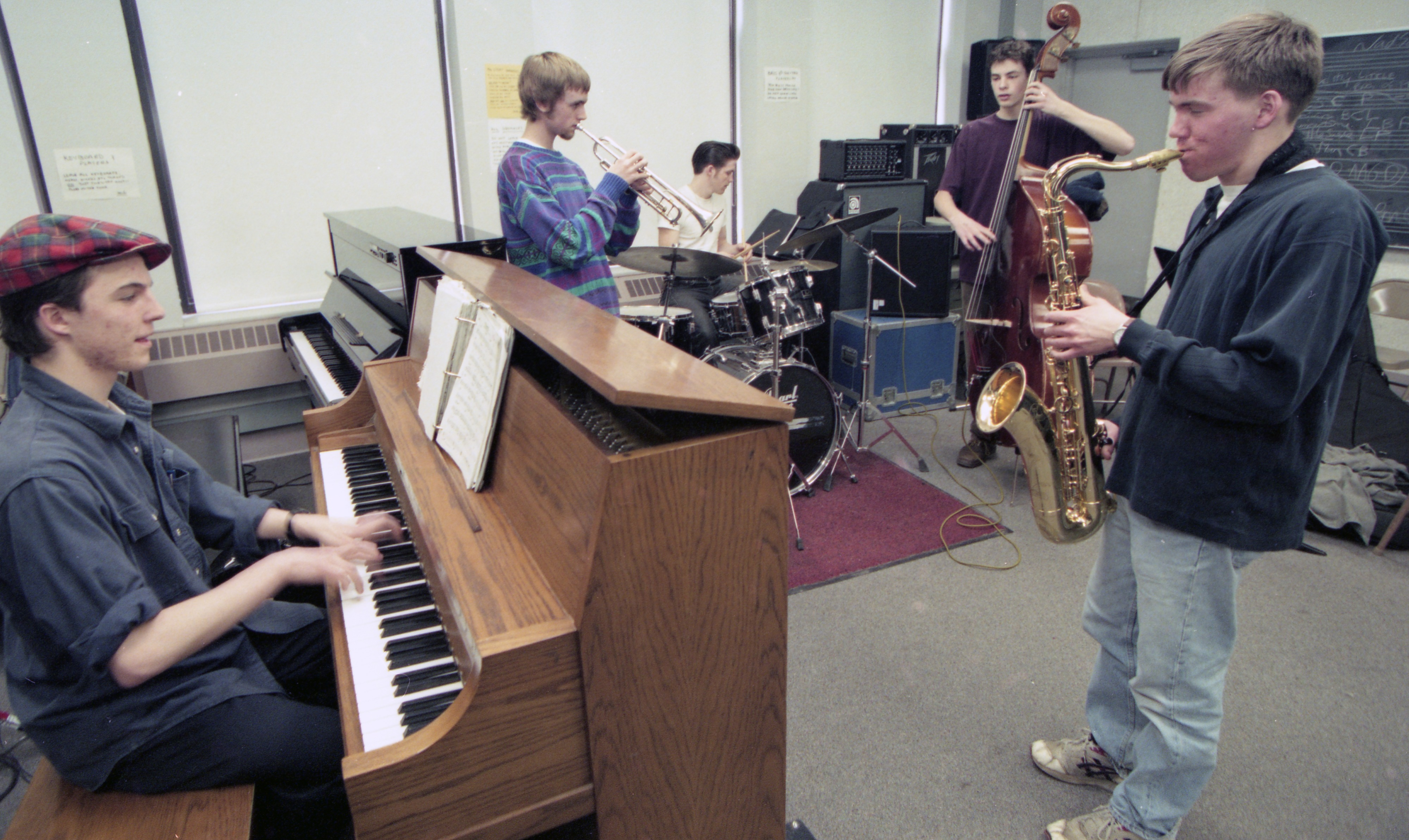 Community High School's 2:00 Jazz Ensemble Rehearses For An Upcoming Performance, February 1996 image