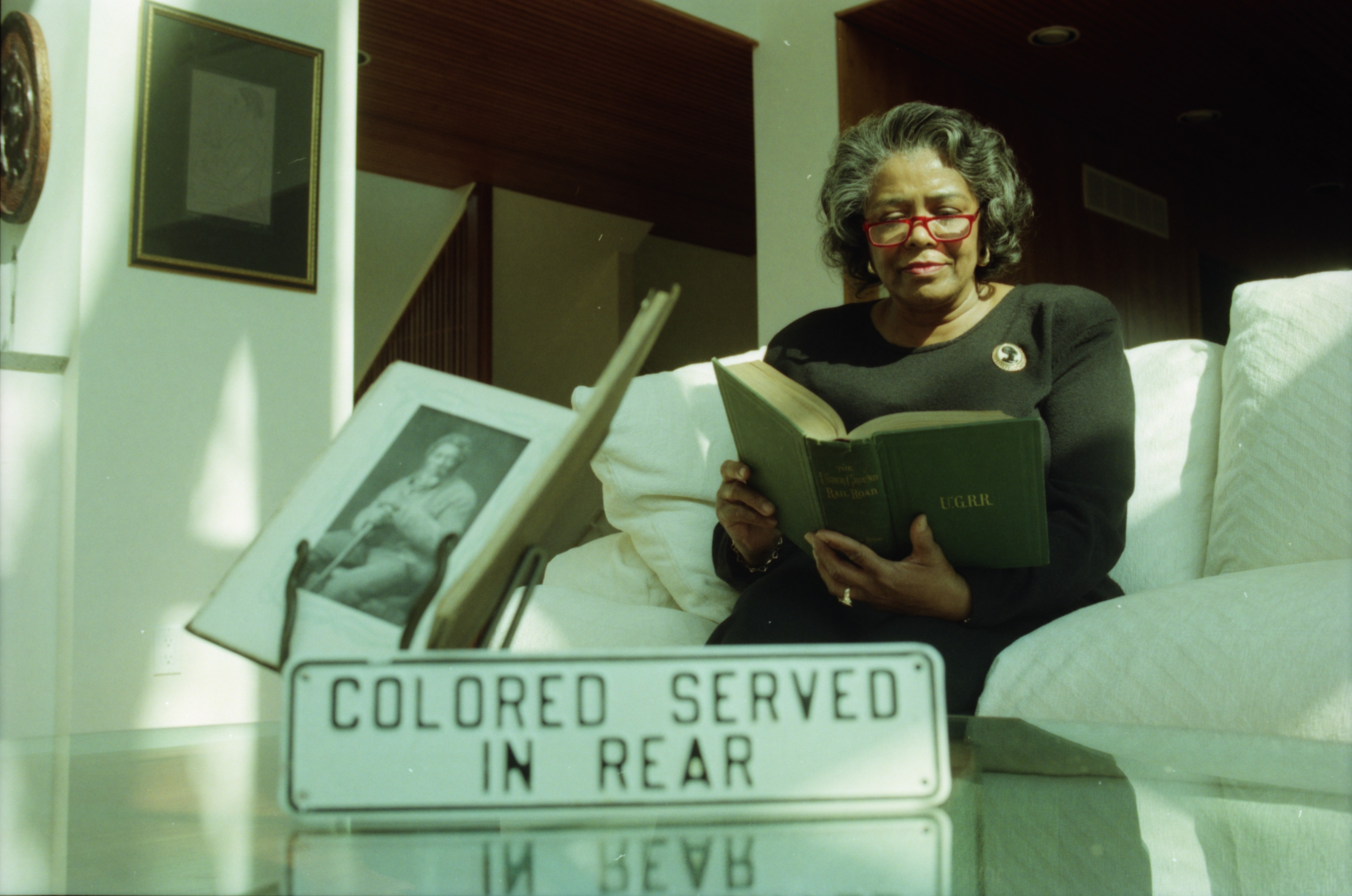 Barbara Meadows Reads Black History Book, March 1996 image